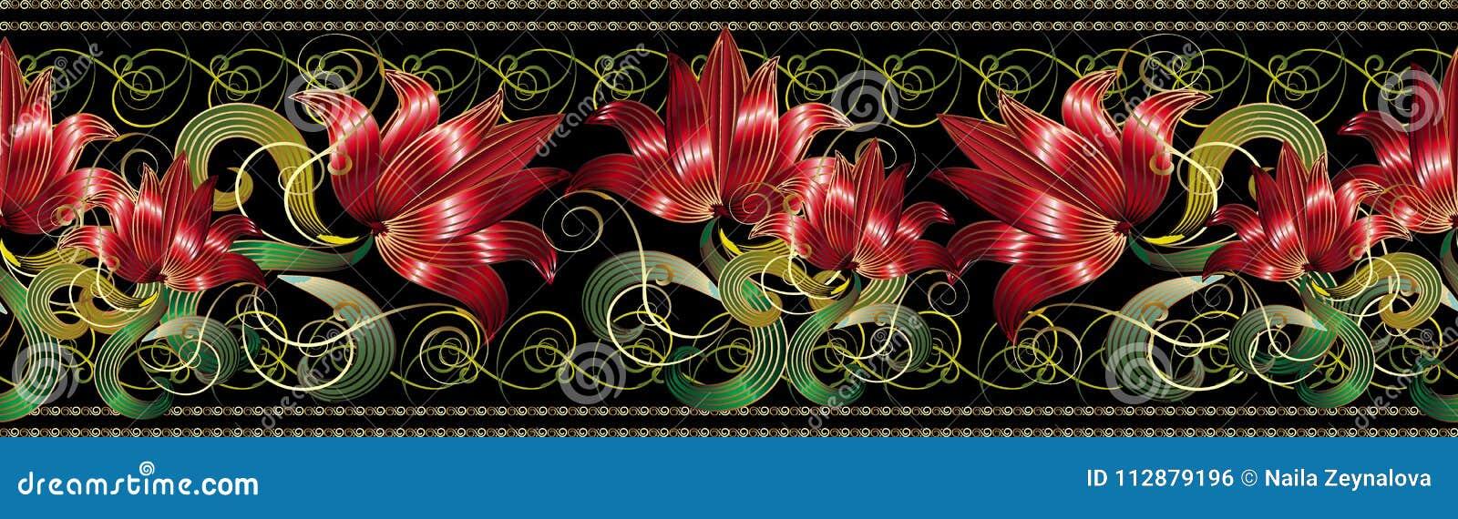 红色3d开花无缝的边界样式 传染媒介花卉黑色后面