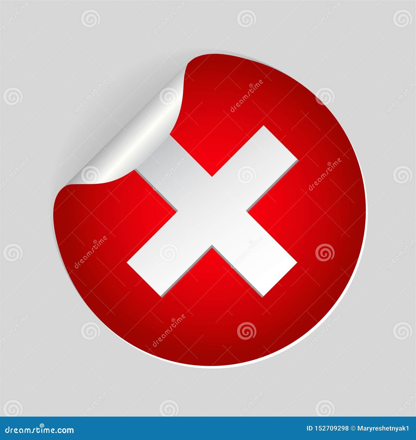 红色x十字架标记象 在圈子的取消平的标志网站的 r