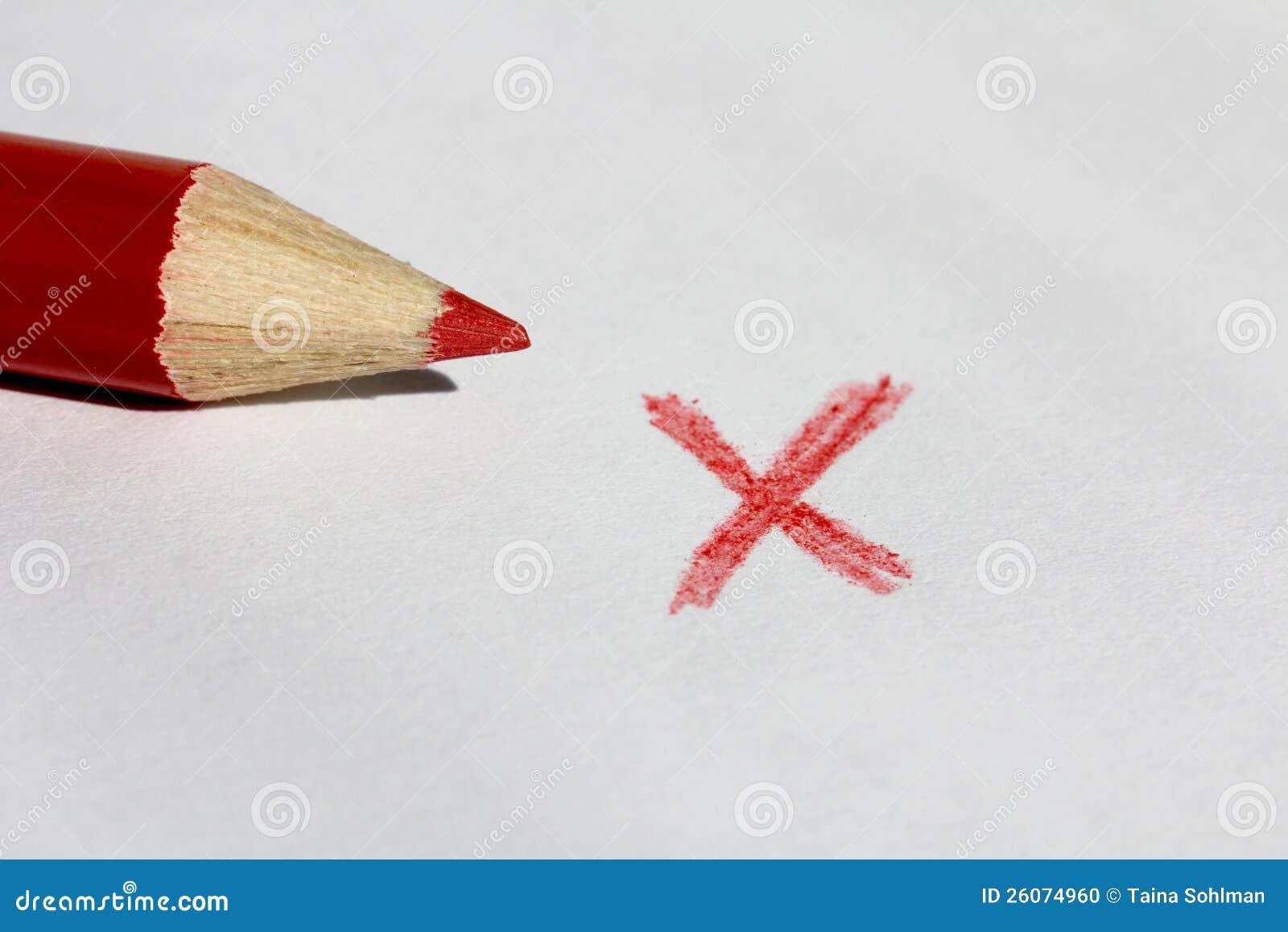 红颜色铅笔和X标记