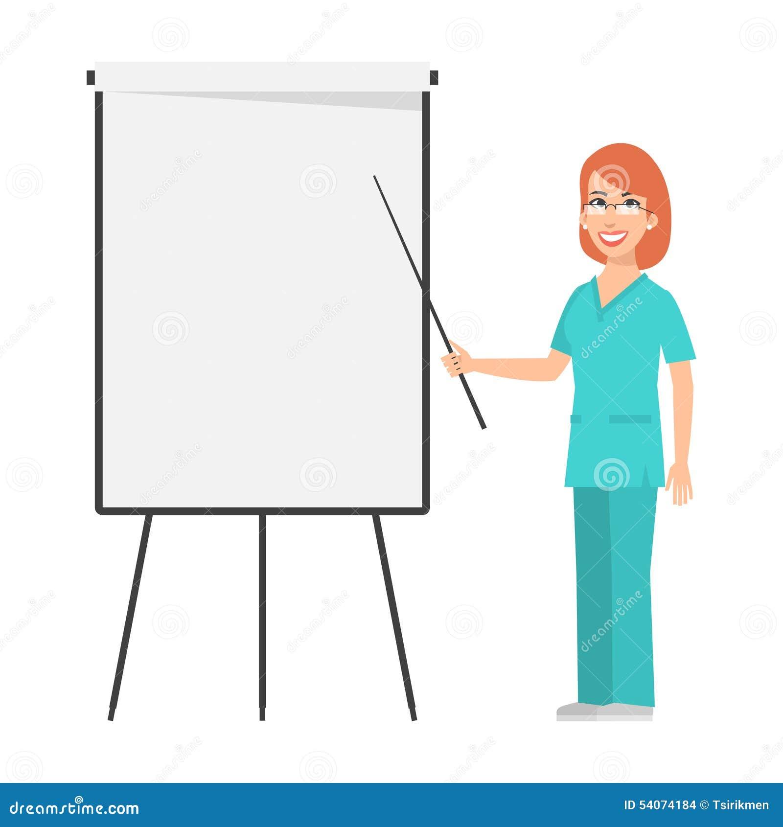 红头发人对活动挂图的护士点