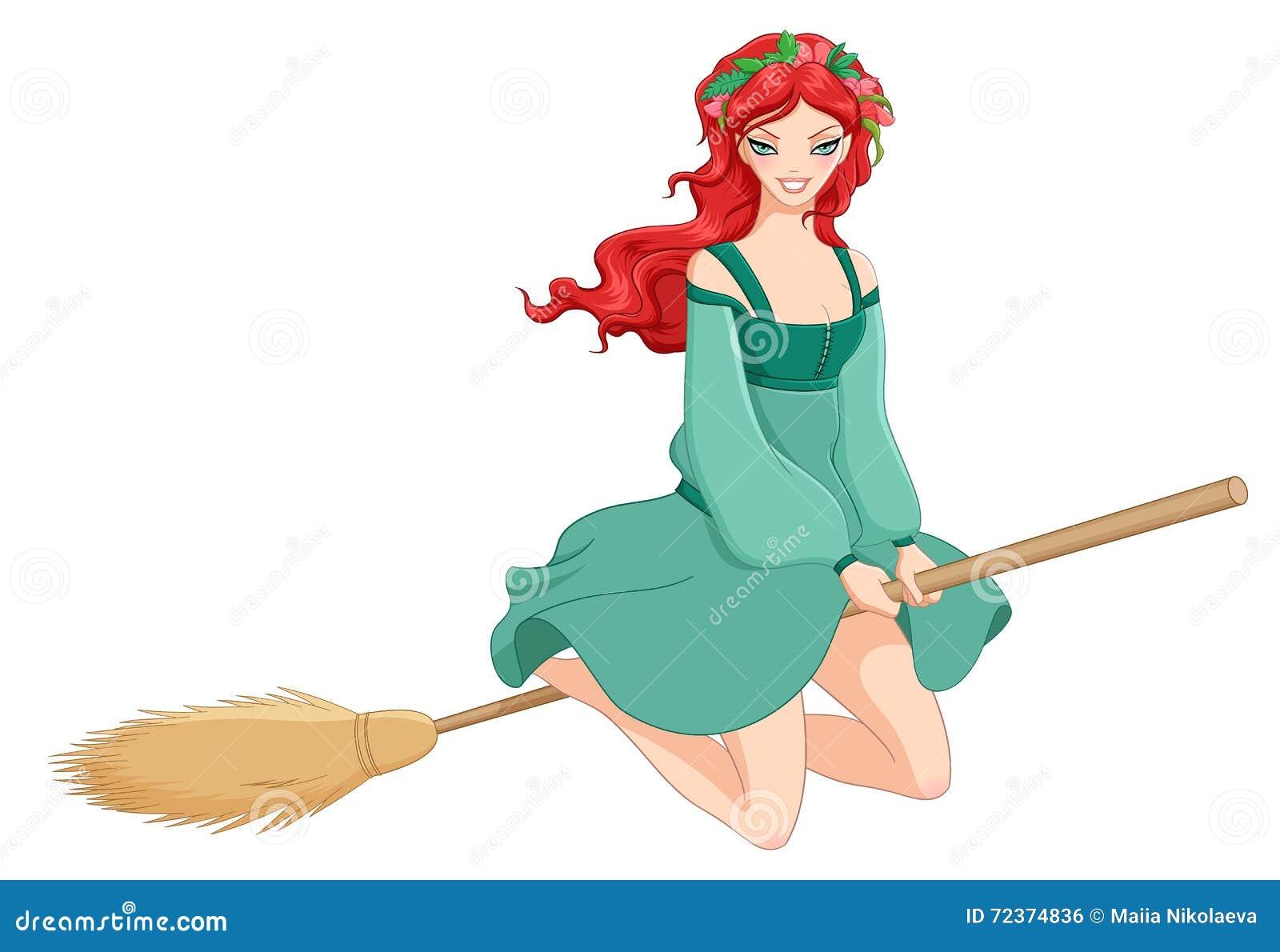 红头发人巫婆骑马笤帚 在空白背景查出的向量例证
