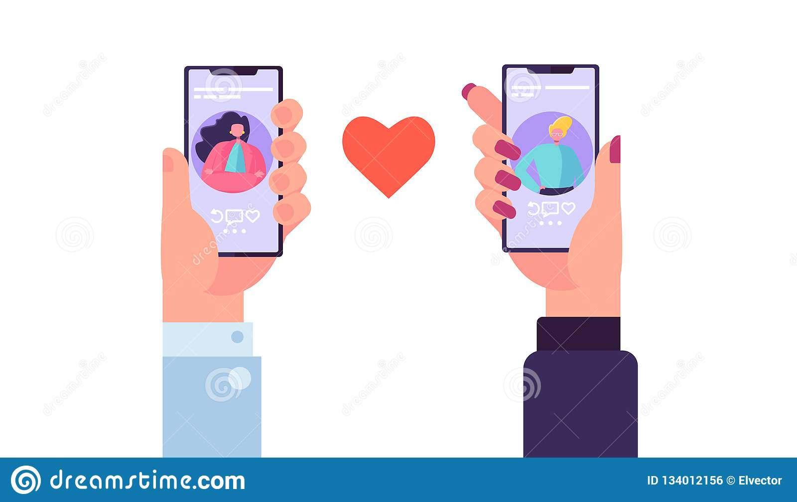 约会应用的智能手机发现爱 拿着与男人和妇女外形拉丁文的应用程序的手机动性 关系