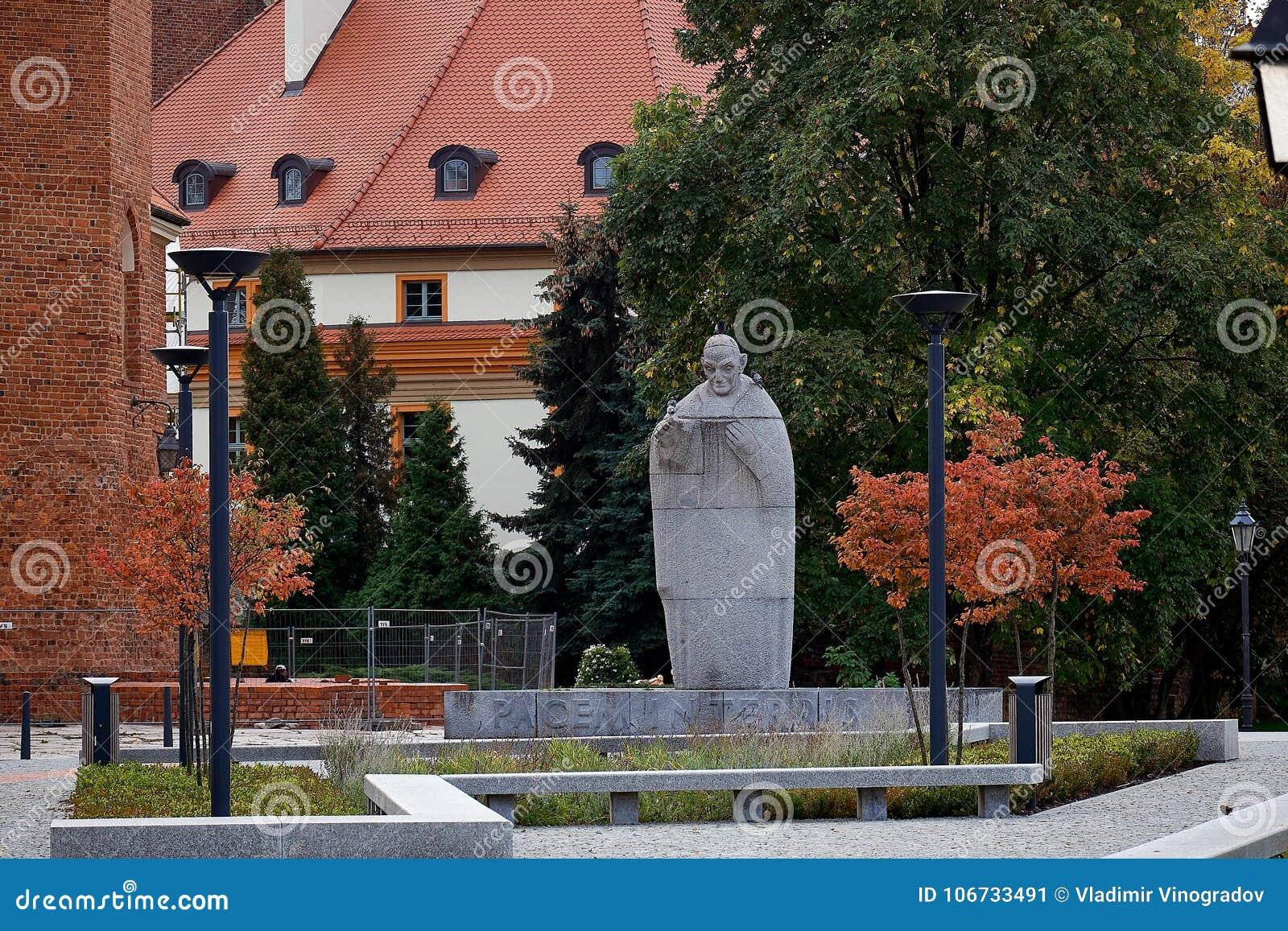 约翰The教皇第23座纪念碑弗罗茨瓦夫Ostrow Tumski降低西里西亚