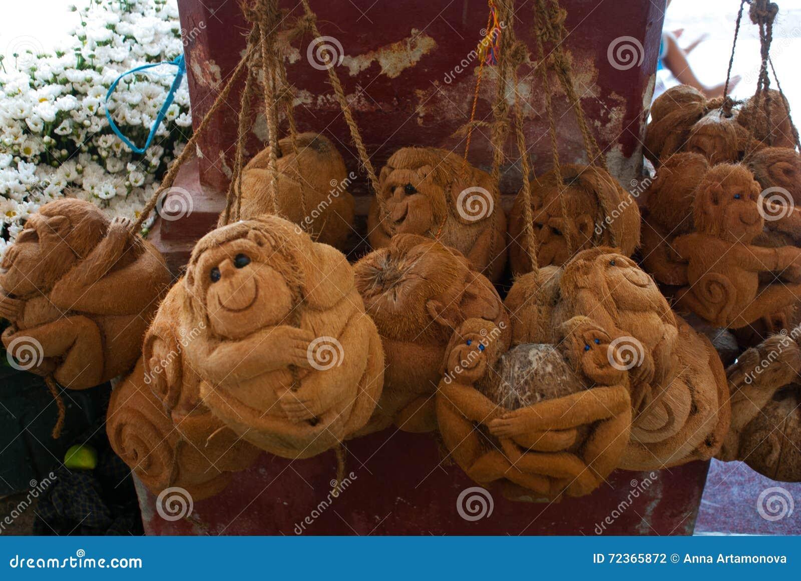 纪念品由椰子制成 猴子 缅甸 缅甸