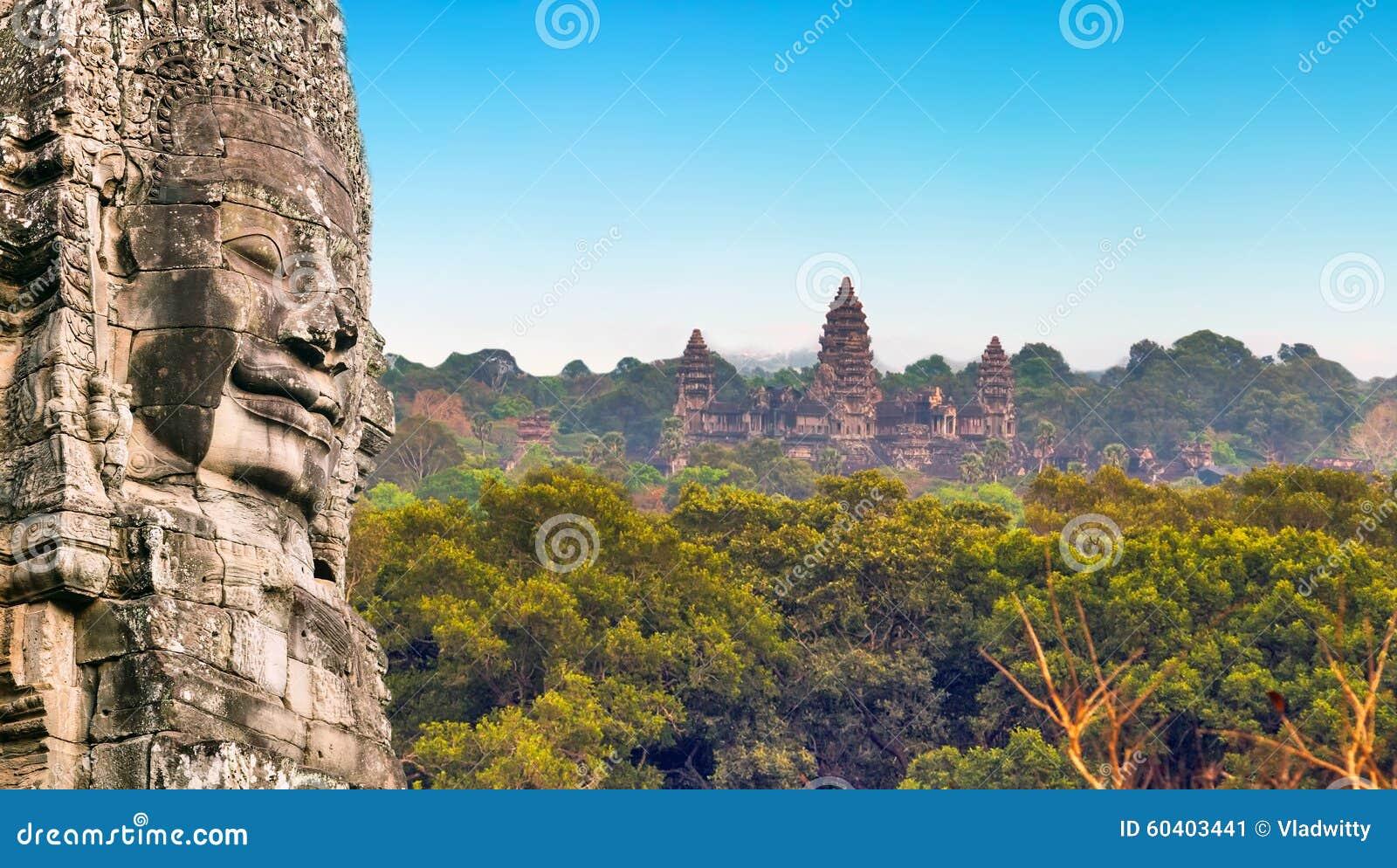 纪念碑石面孔吴哥窟,暹粒,柬埔寨
