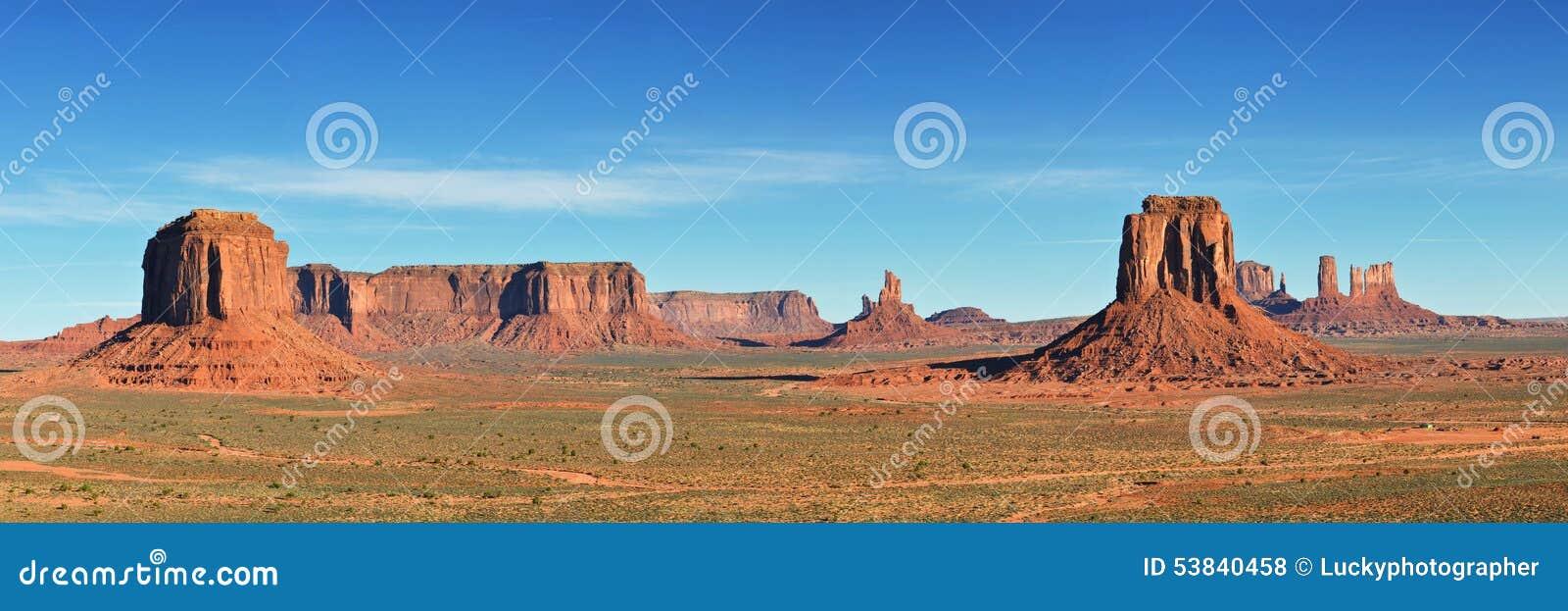 纪念碑谷,沙漠峡谷在美国,全景图象