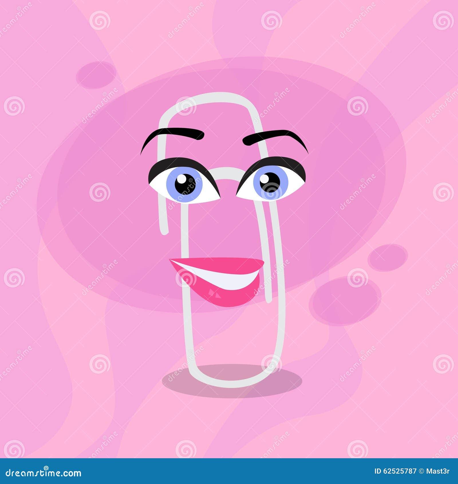 纸夹桃红色动画片女性注视愉快的字符