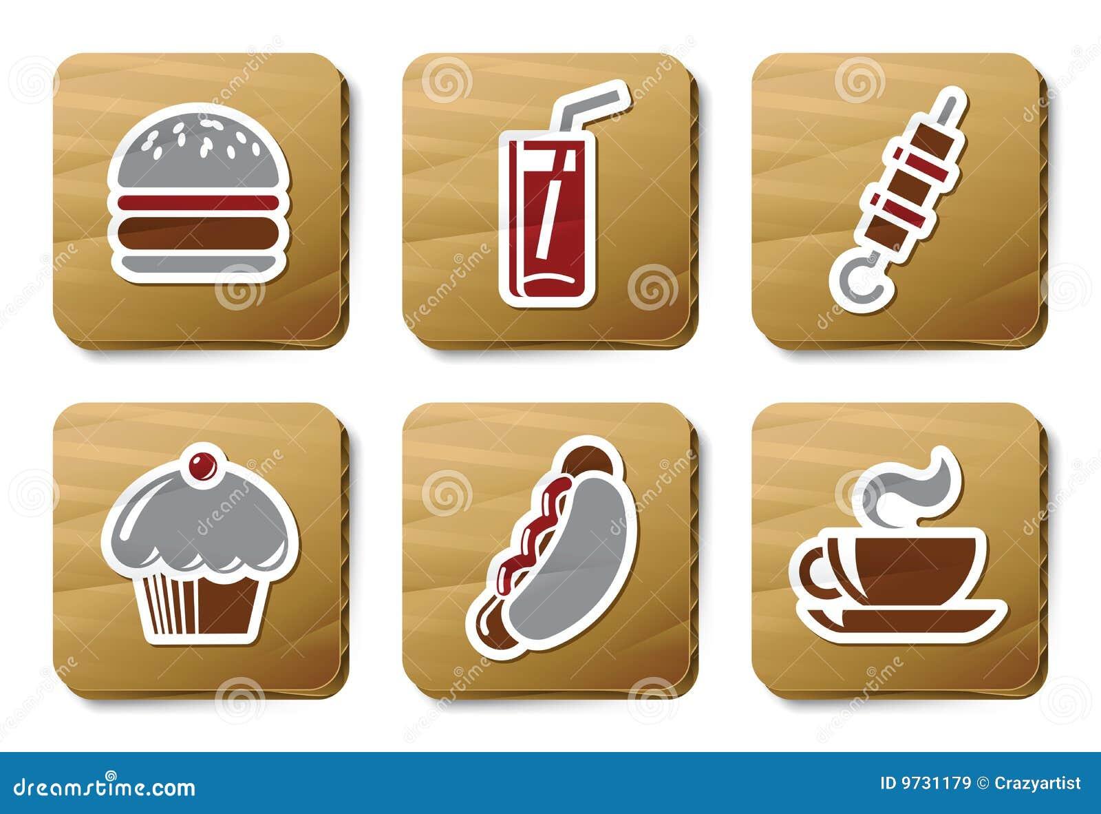 纸板快餐图标系列