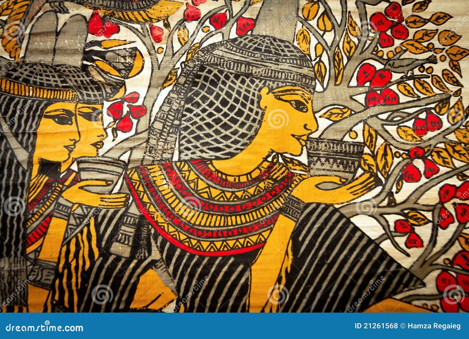 古老地道画的埃及纸纸莎草法老王.