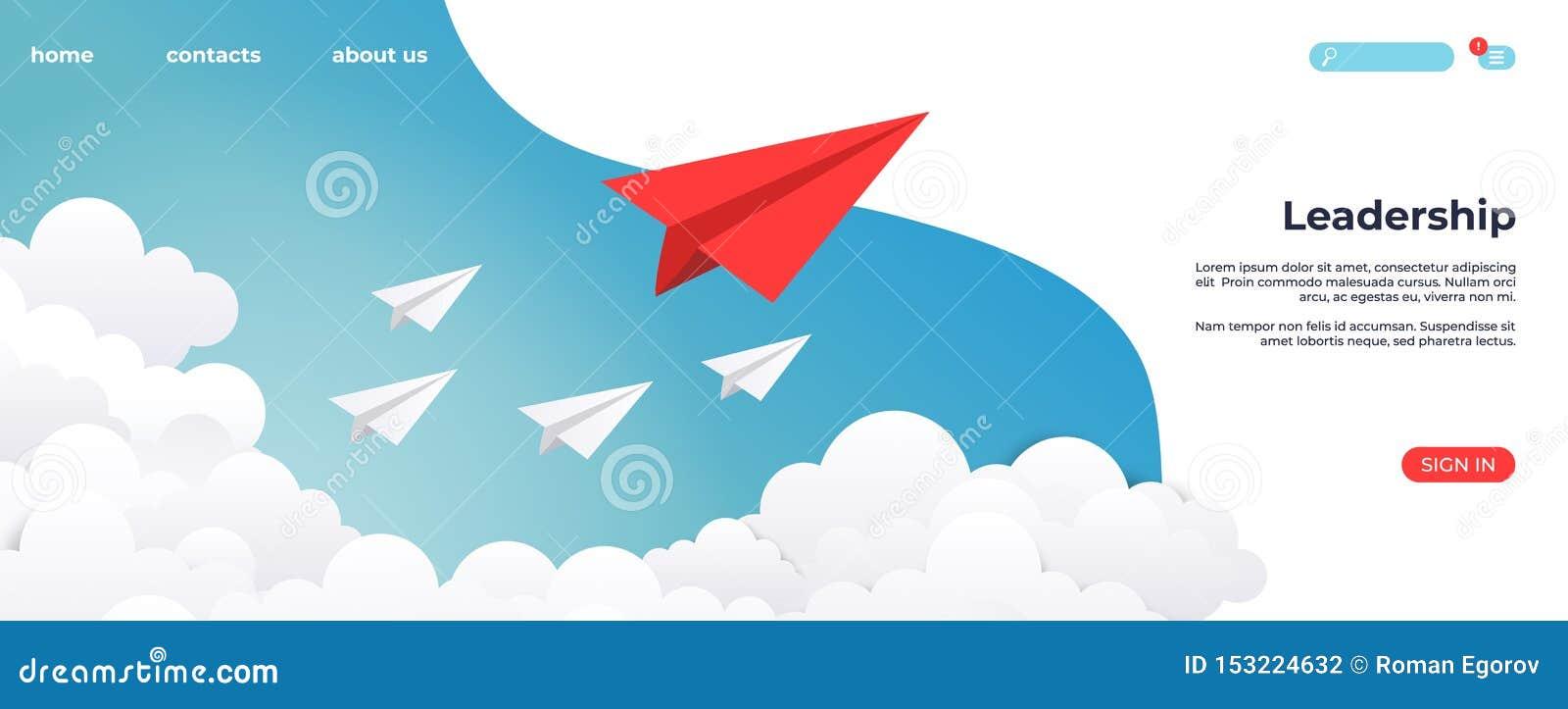 纸领导着陆 创造性的概念想法、企业成功和领导视觉最小的成功 r