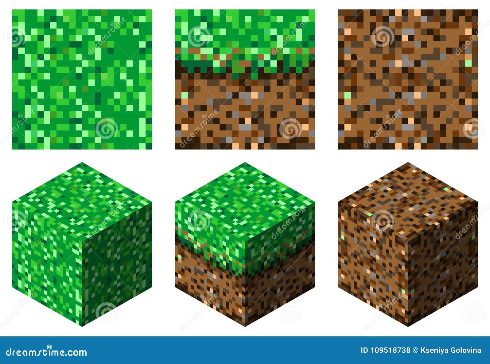 纹理和立方体在minecraft stylegreen棕色草和地球
