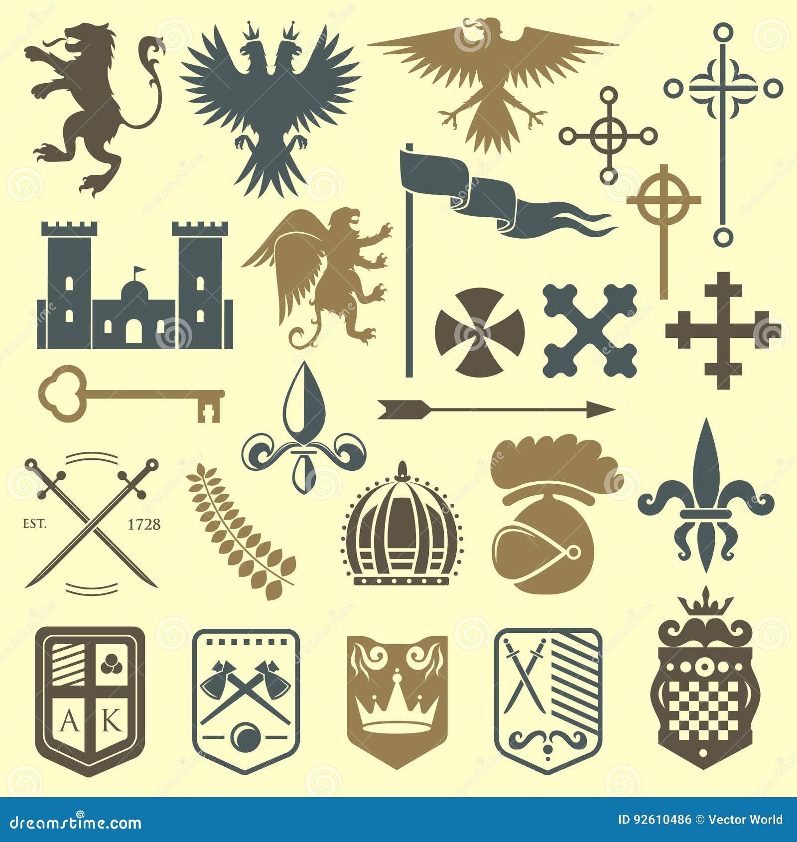纹章学皇家冠中世纪骑士元素葡萄酒国王标志纹章城堡徽章传染媒介例证