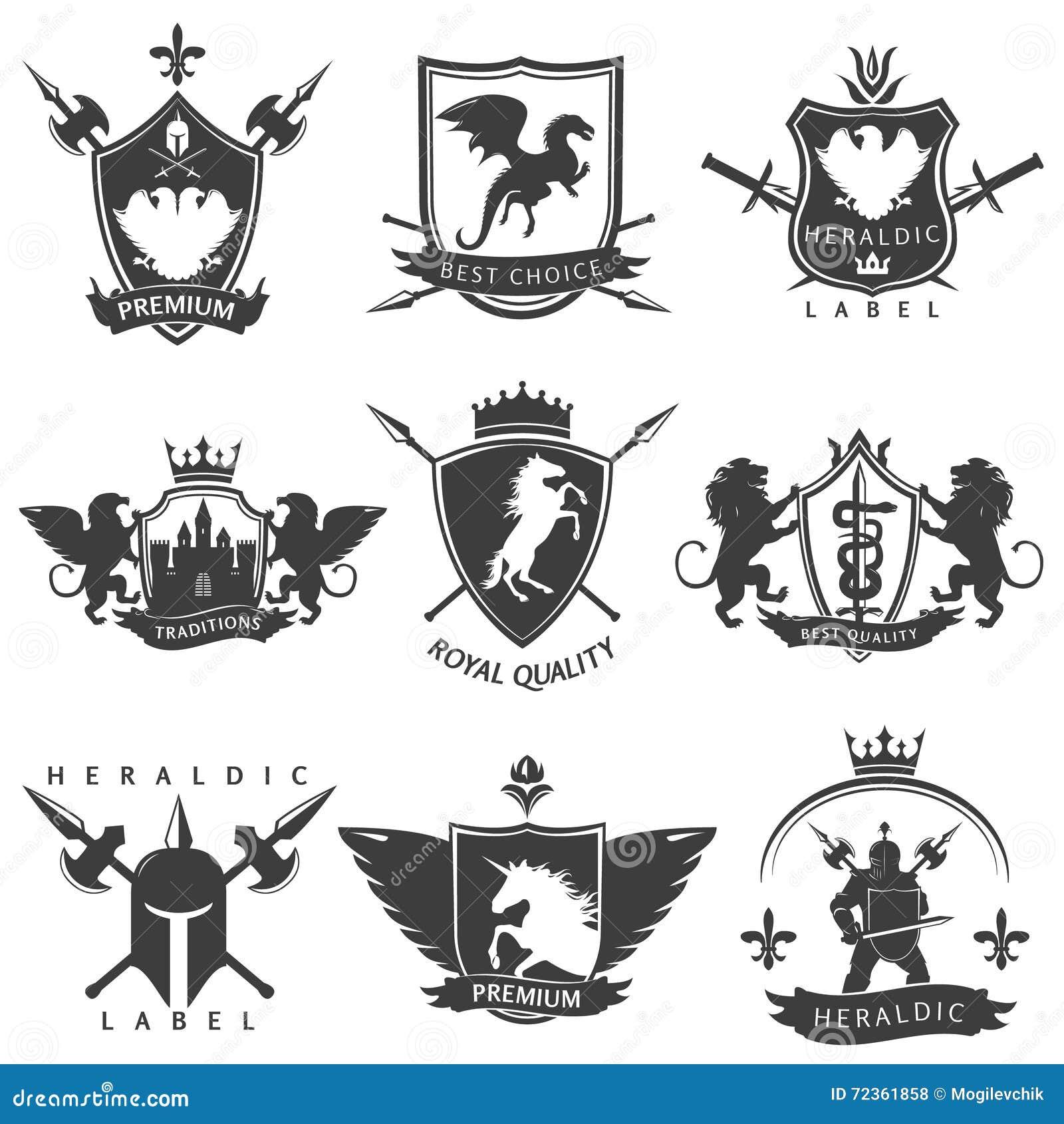 纹章学黑白色标签