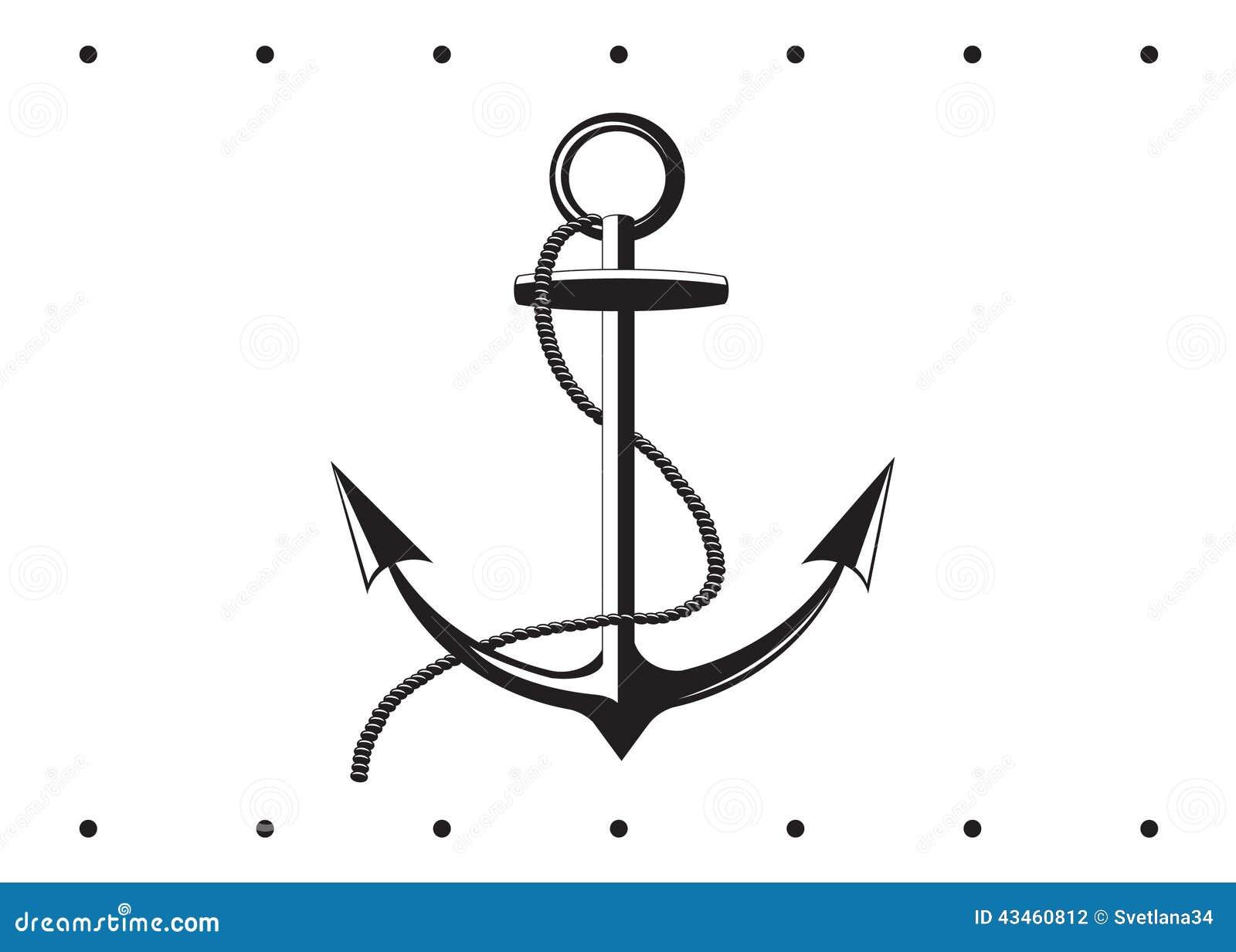有一个链子的海锚在白色背景.