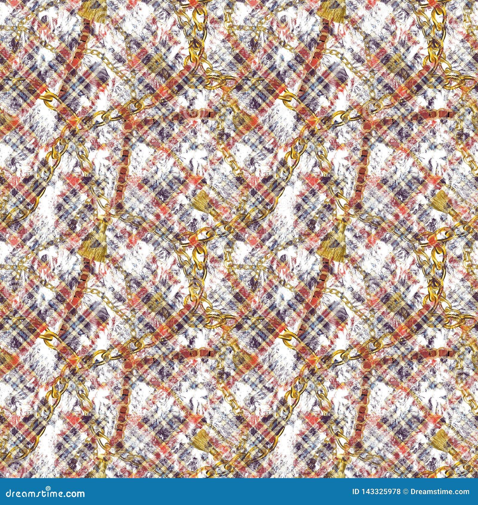 纺织品样式设计 格子花呢披肩和链子
