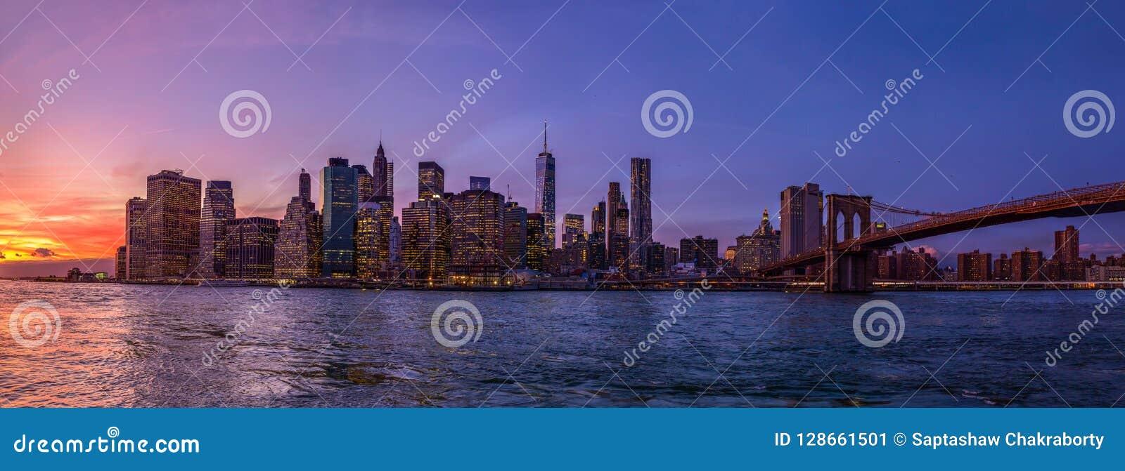 纽约全景从布鲁克林的