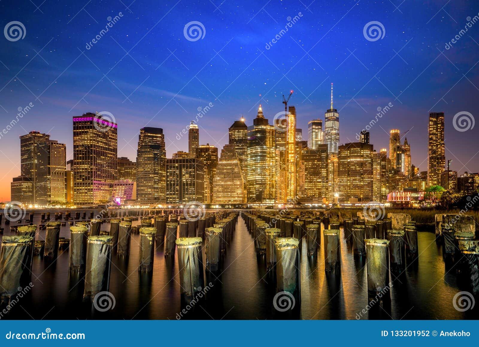 纽约夜都市风景