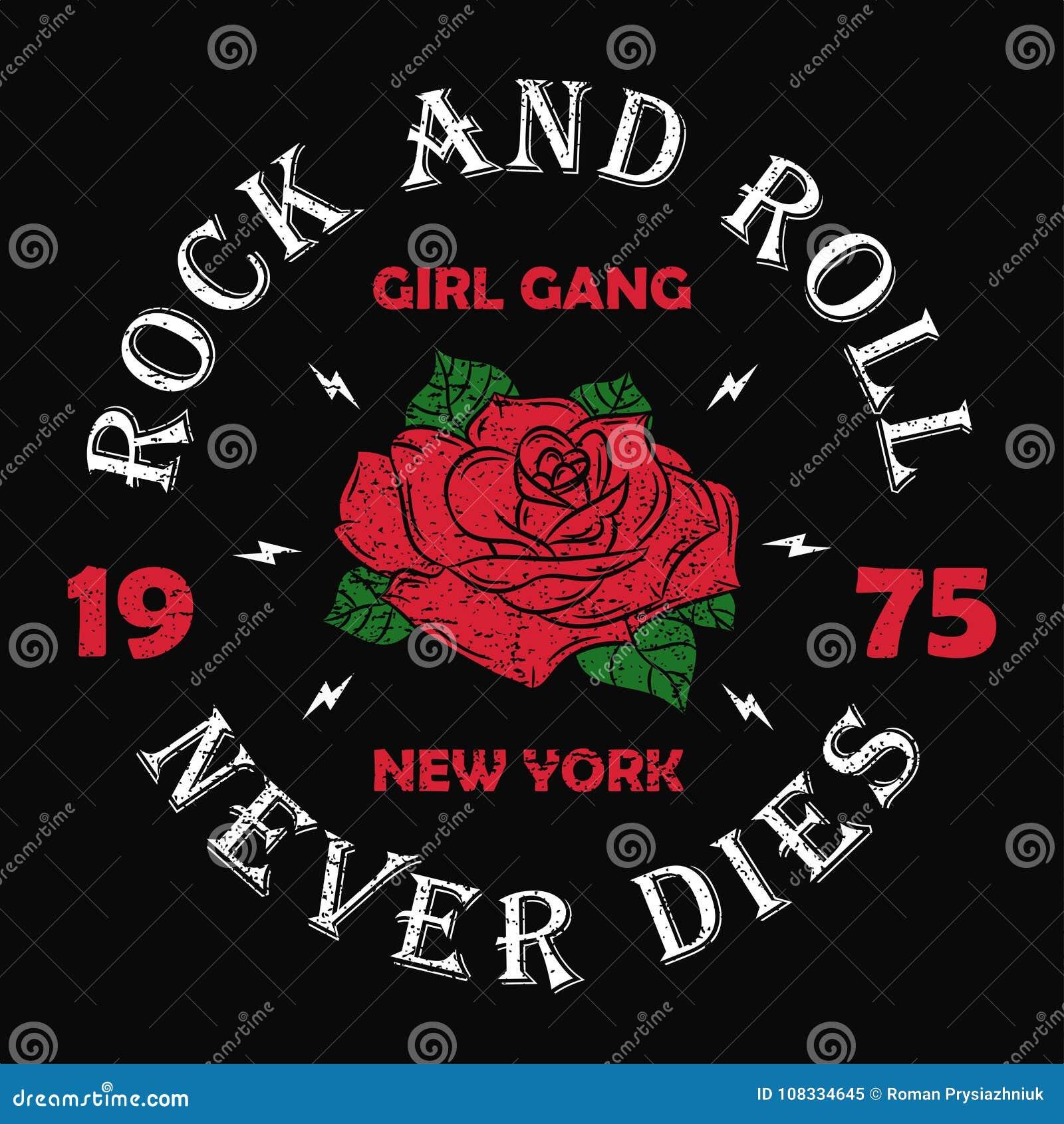 纽约摇滚乐女孩帮会- T恤杉的,妇女难看的东西印刷术穿衣 塑造服装的印刷品有玫瑰色和口号的