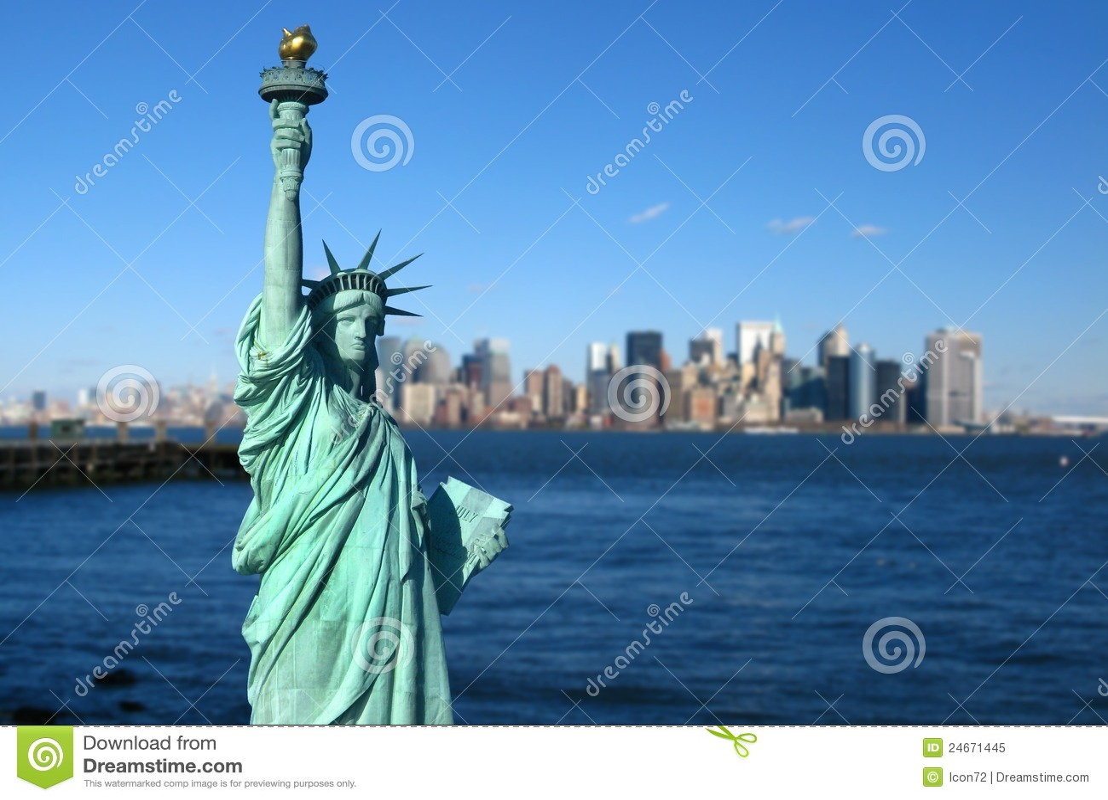 纽约: 自由女神象,曼哈顿地平线