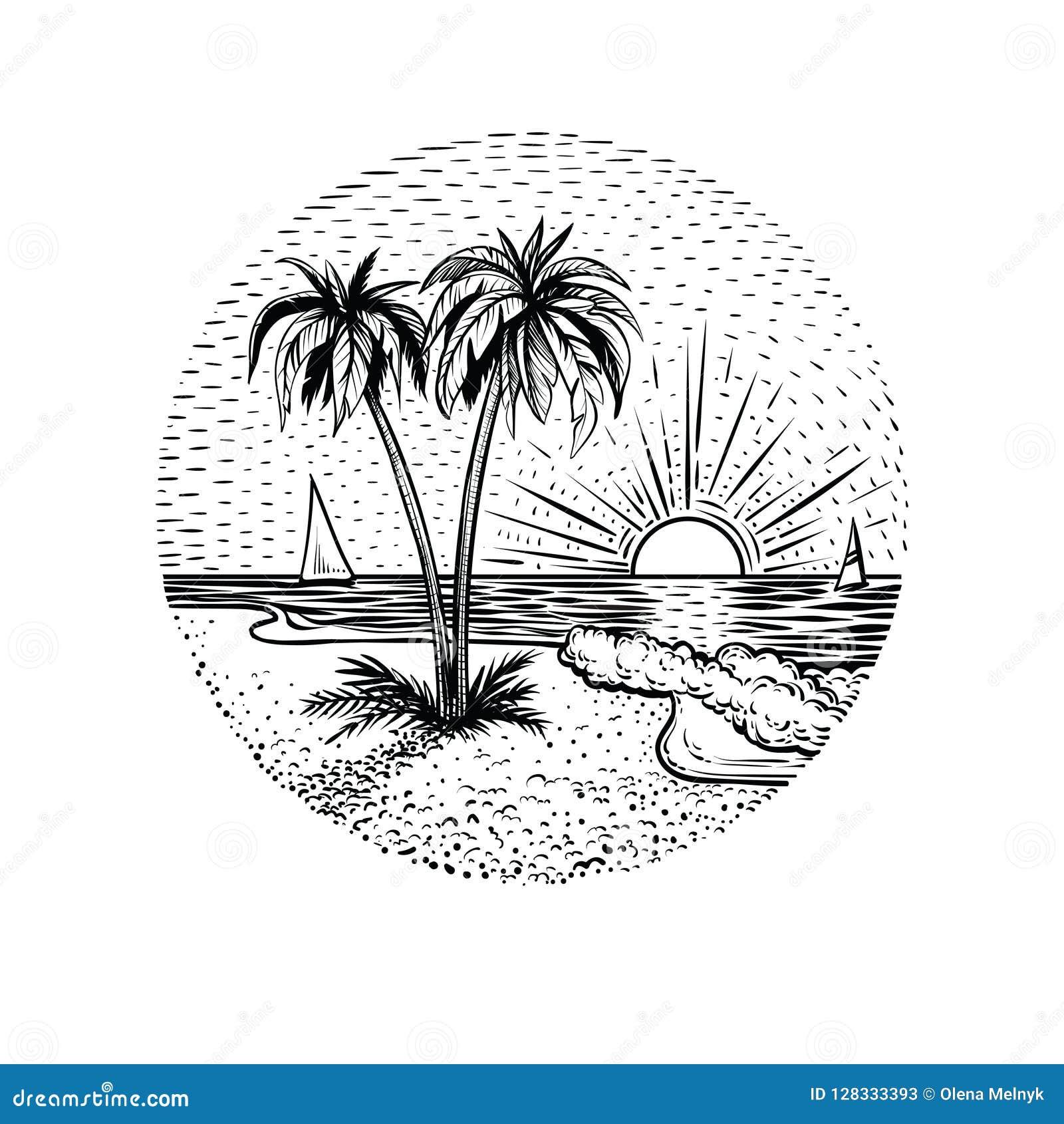 线与棕榈和日落的海滩风景 圆的象征、卡片、纹身花刺或者设计元素