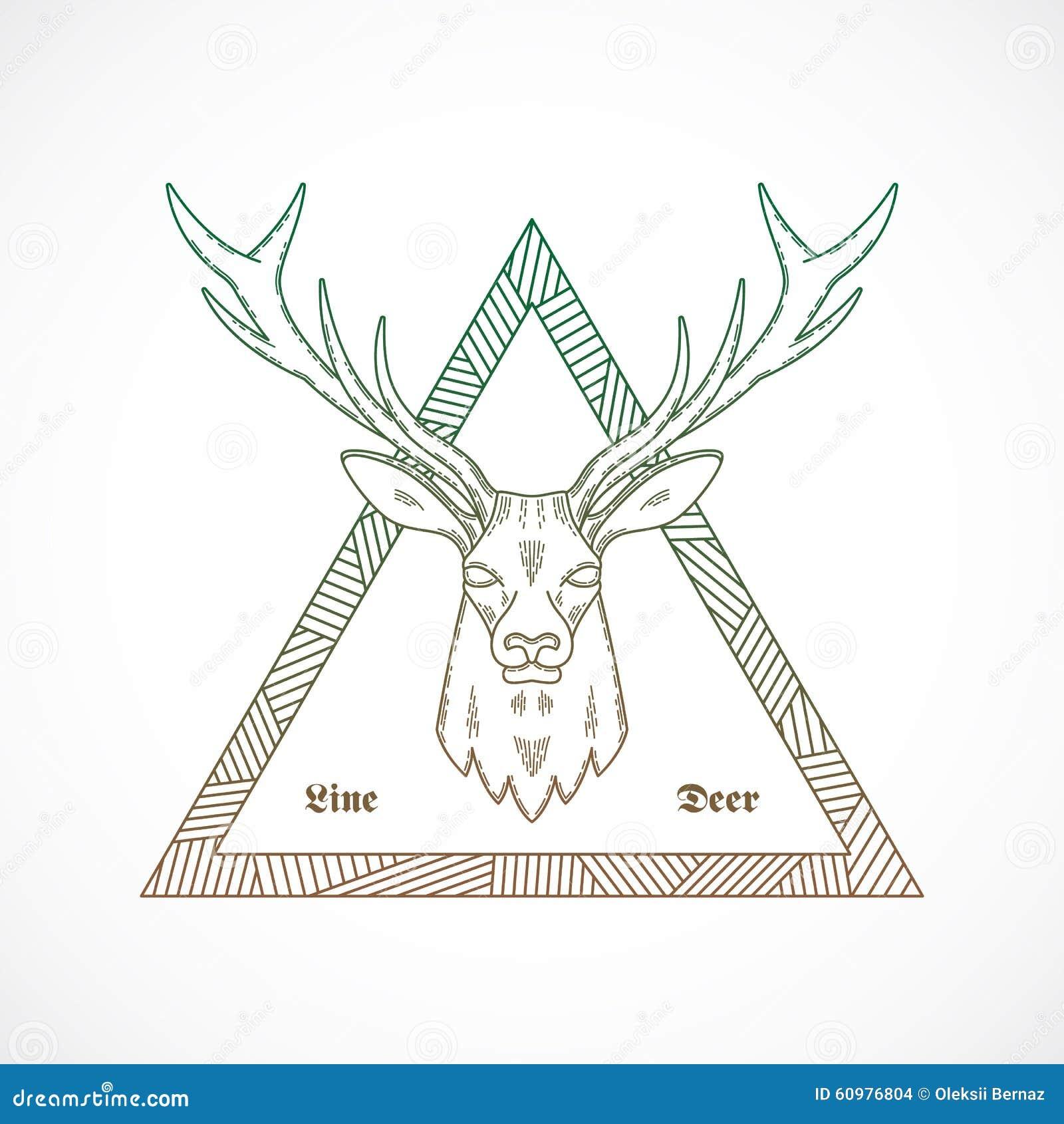 线型摘要传染媒介鹿面孔例证