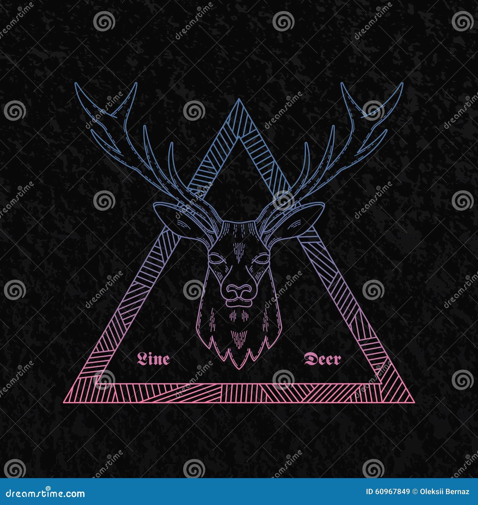 线型摘要传染媒介鹿头例证