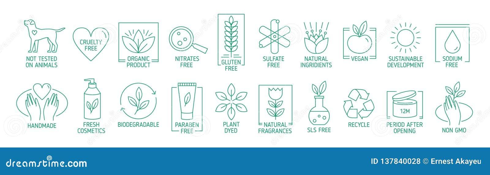 线性标志或徽章的汇集自然eco友好的手工制造产品的,有机化妆用品,素食主义者和