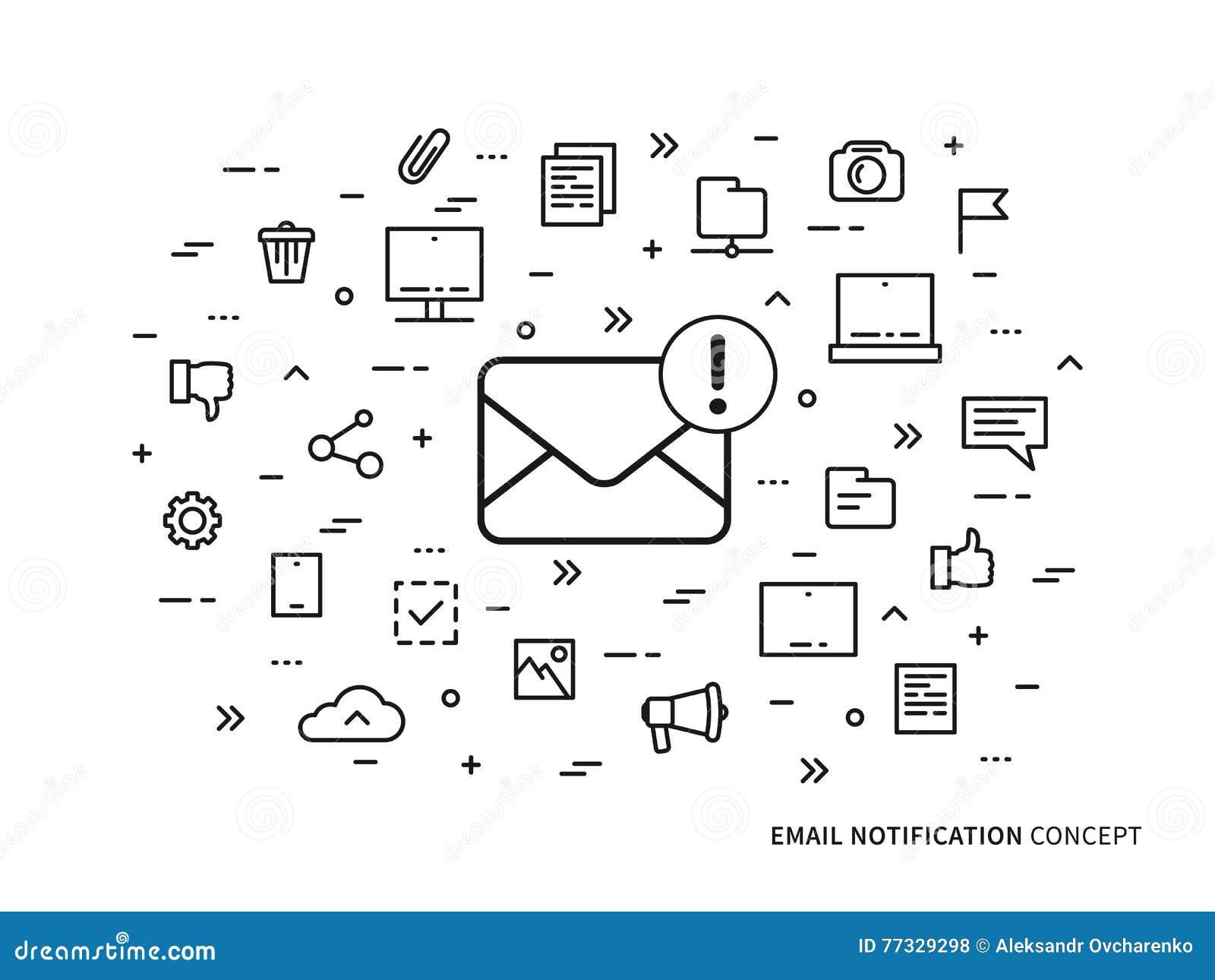 线性电子邮件通知笔记传染媒介例证