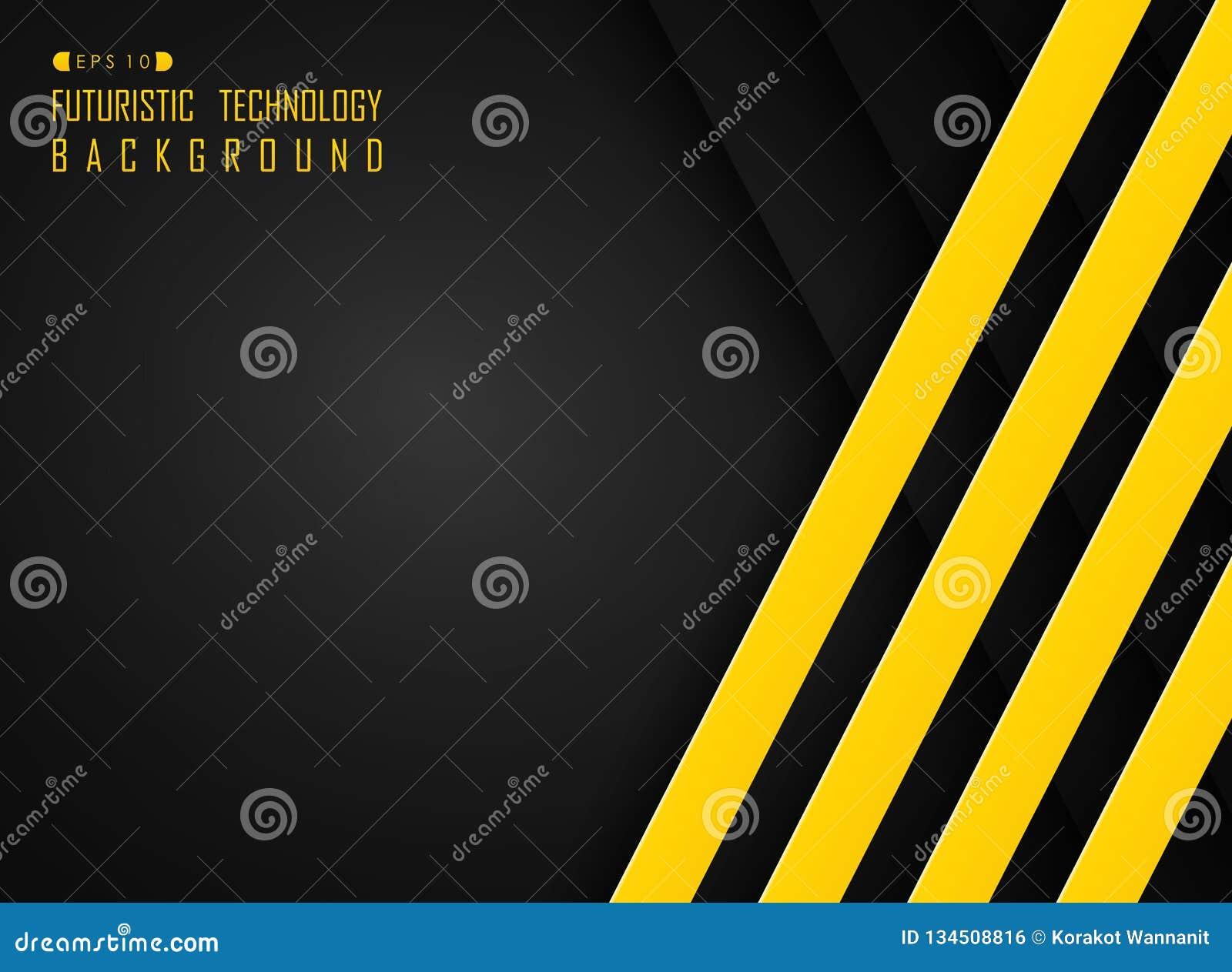 线样式高科技未来派技术摘要黑和黄色颜色背景