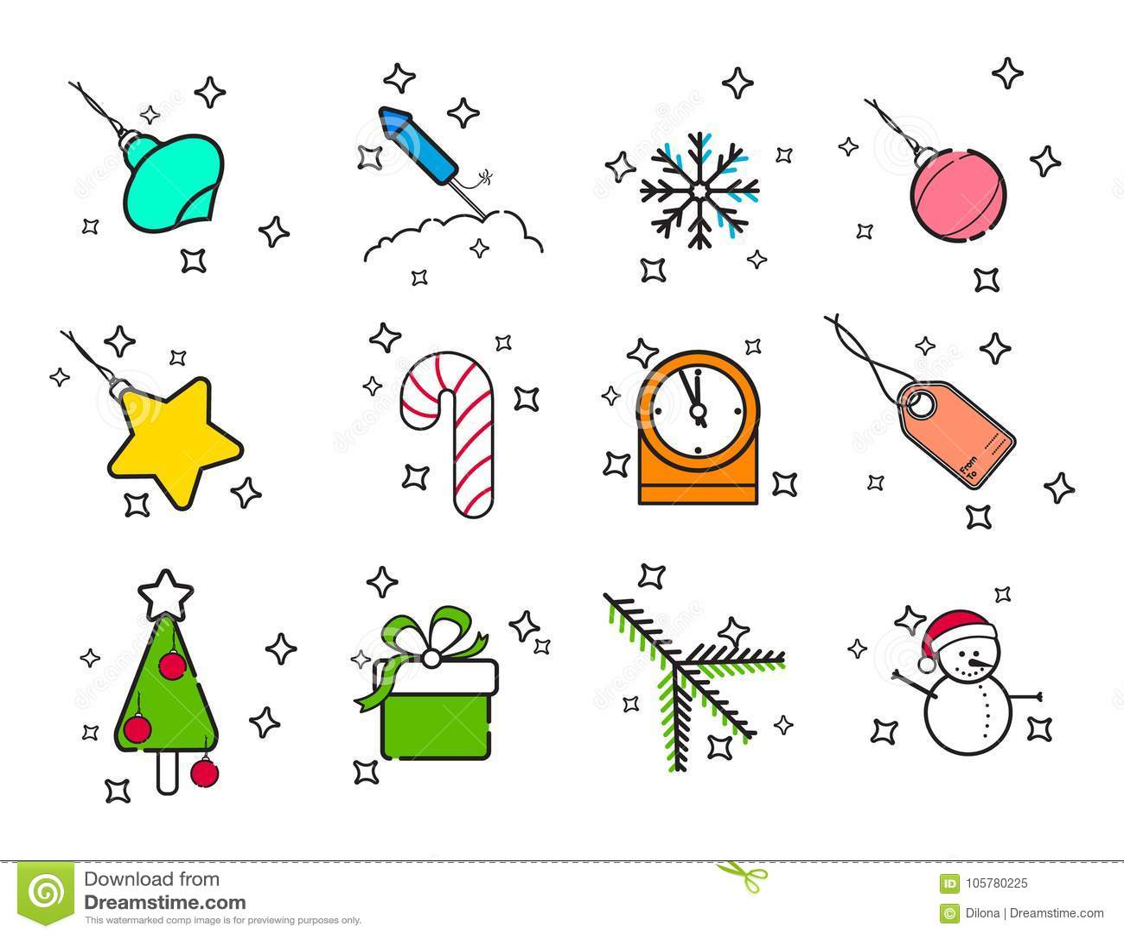 线艺术假日被设置的圣诞节象 网和机动性的传染媒介集合新年假日现代线象 冬天季节象Collec