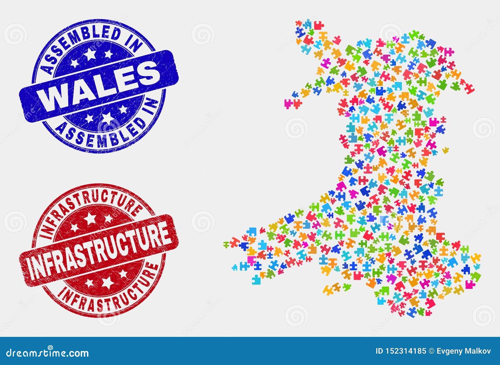 组分威尔士地图和困厄被装配的和基础设施封印