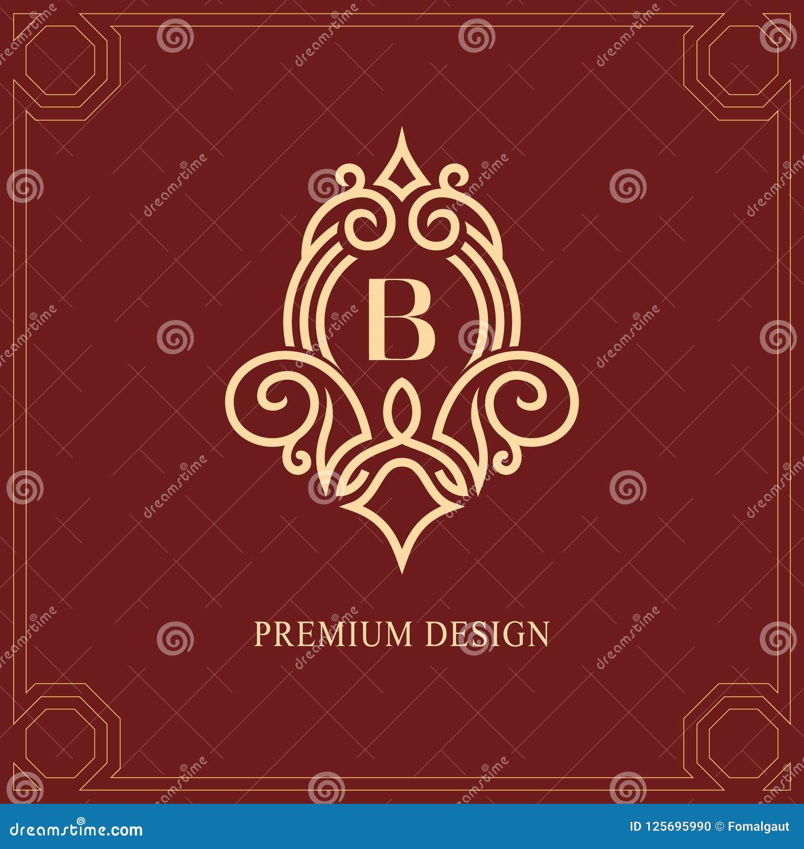组合图案设计元素,优美的模板 书法典雅的线艺术商标设计 大写字母皇族的象征标志B,