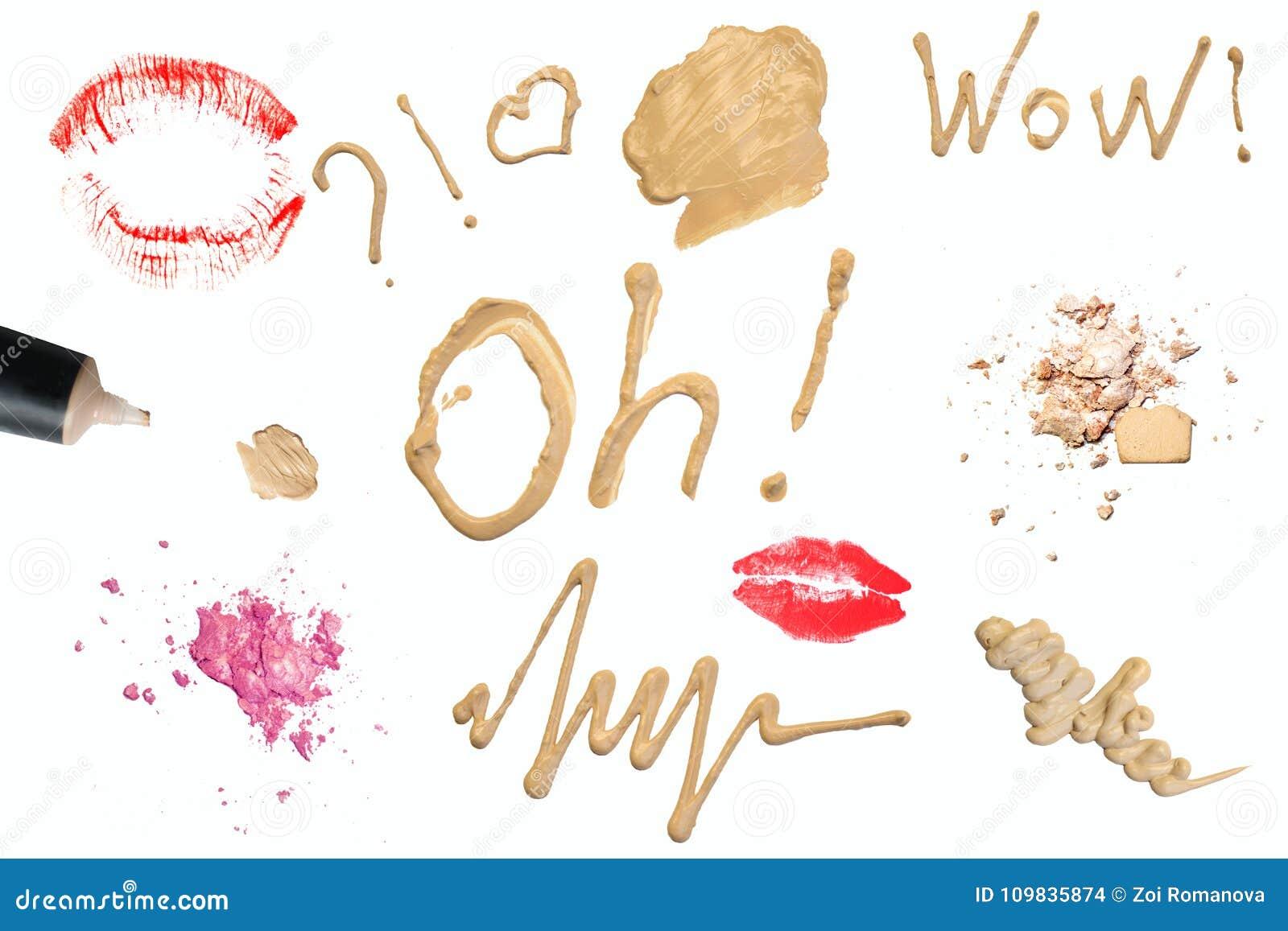 组成产品装饰宏指令 题字和标志 音调的奶油,粉末,皮肤产品,脆眼影 关闭isol