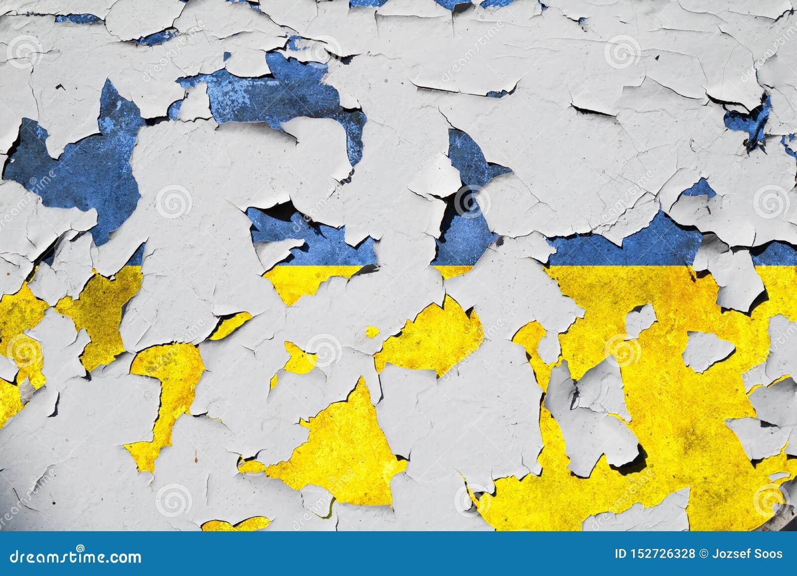 织地不很细破裂的乌克兰国旗