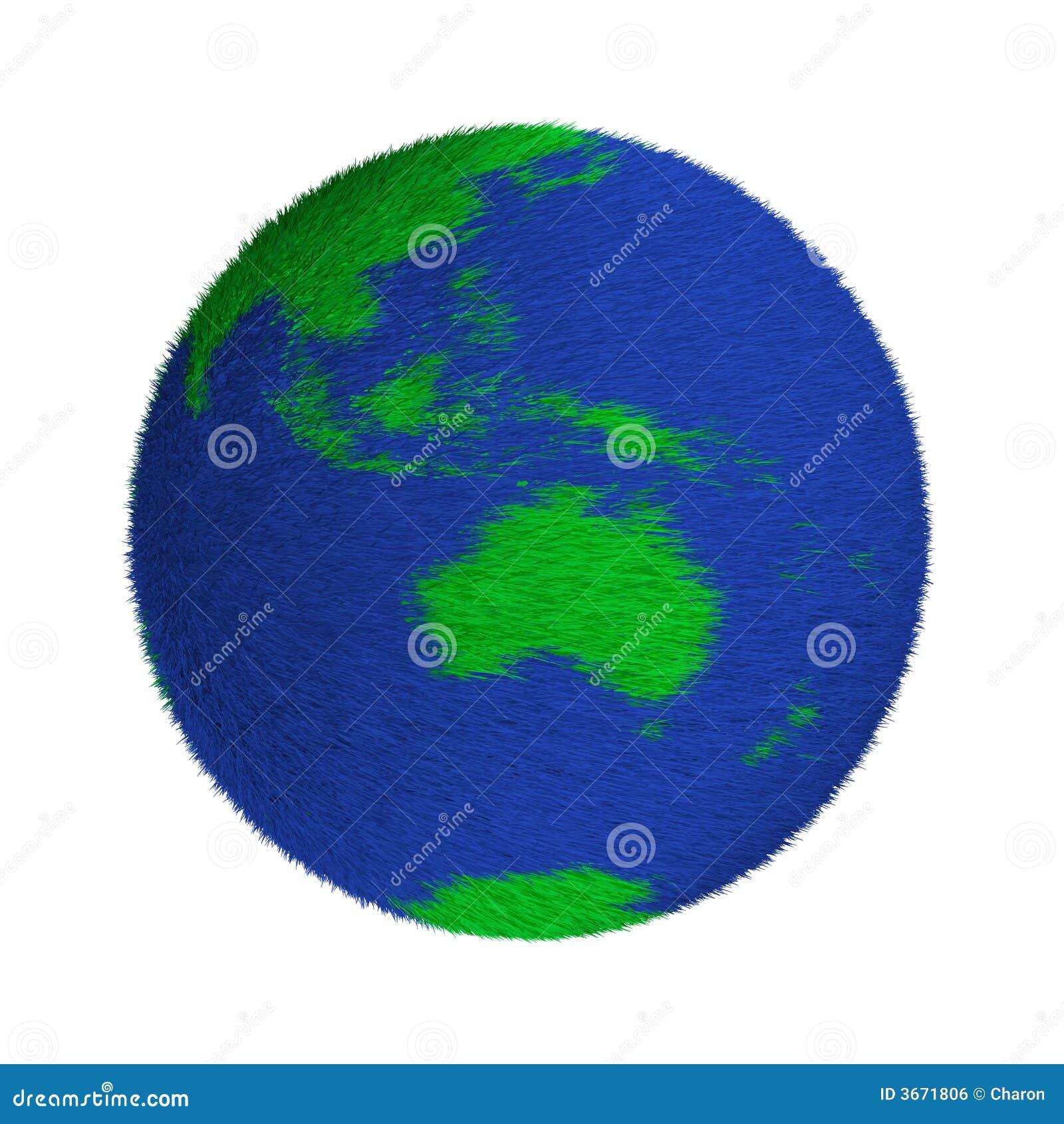 织地不很细绿色和蓝色地球