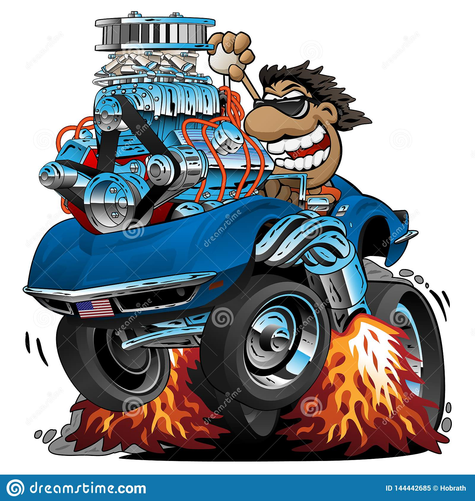 经典跑车动画片,滑稽的司机,被隔绝的传染媒介例证
