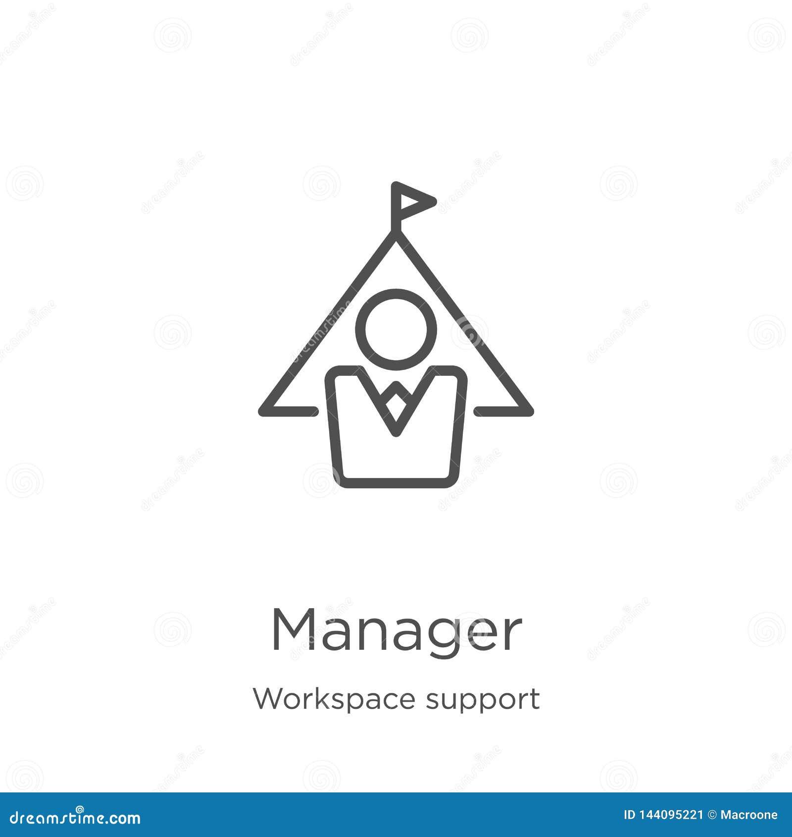 经理从工作区支持汇集的象传染媒介 稀薄的线路管理员概述象传染媒介例证 概述,稀薄的线