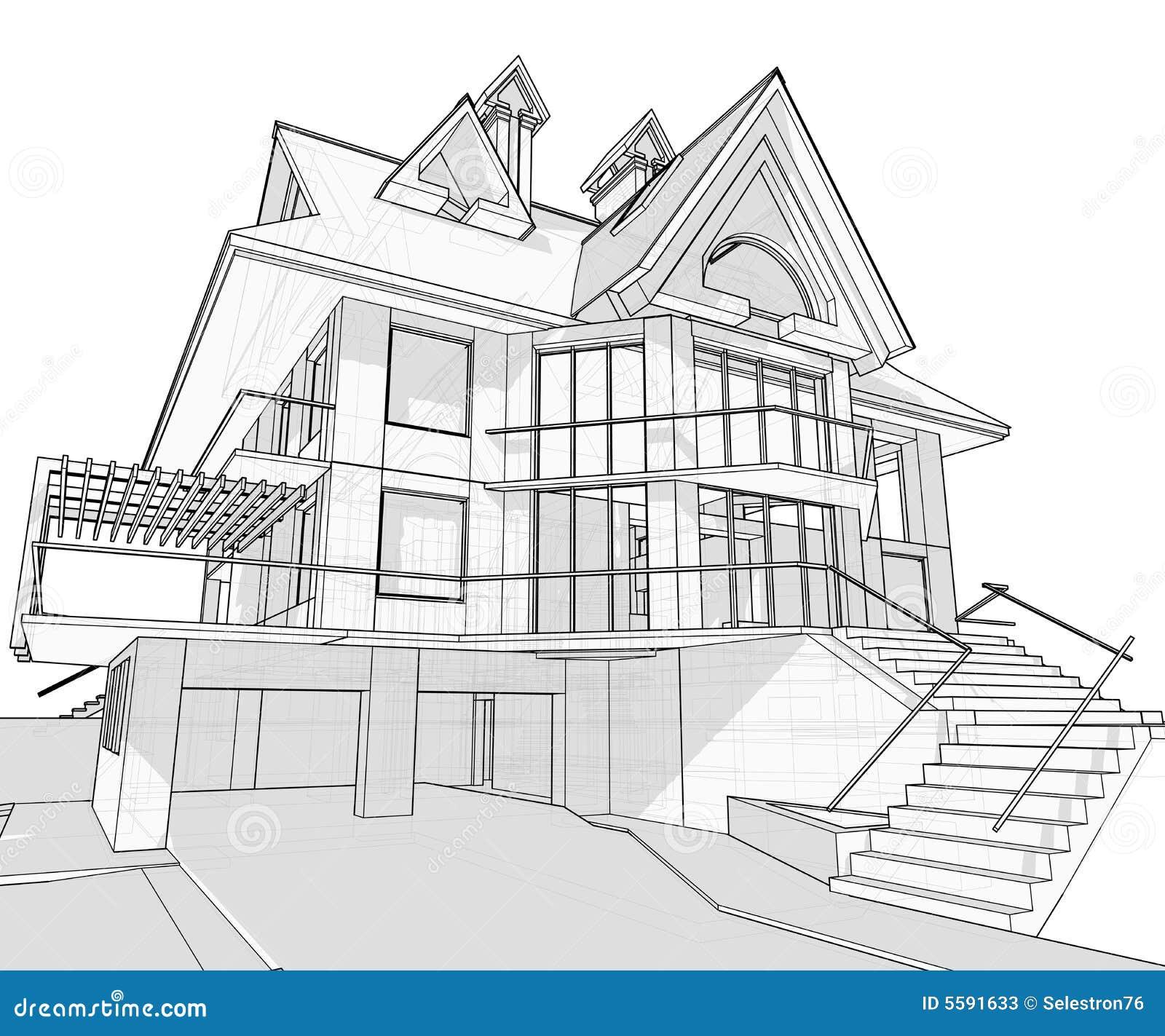 结构图纸房子 向量例证 插画 包括有 拱道 要素 住房 发展 草拟 项目 概念 创建 建筑师