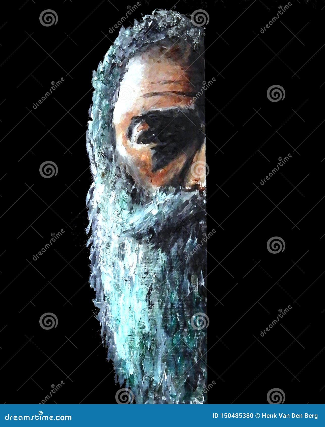绘一半面孔的有胡子的建议老的人精神病