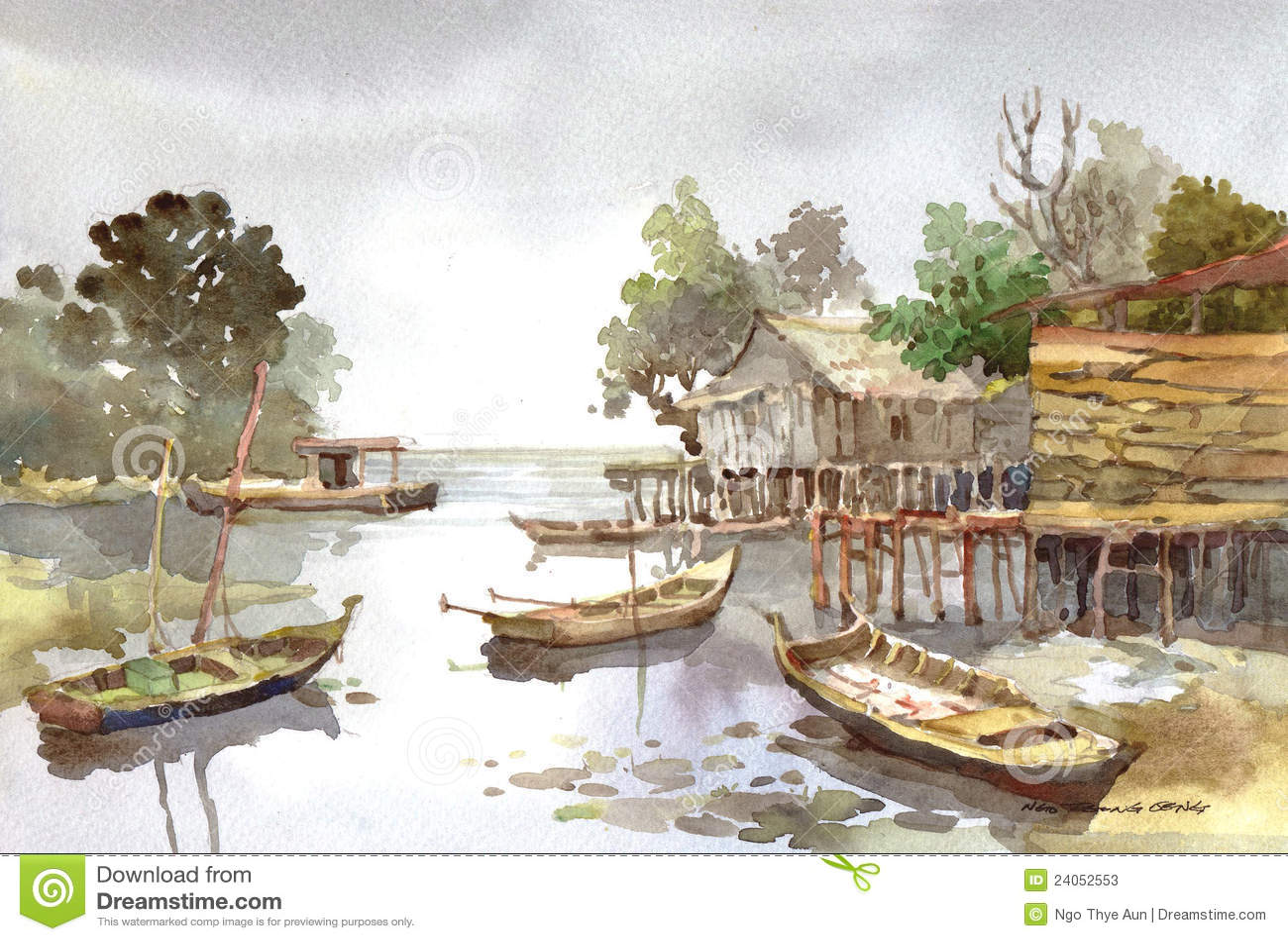 绘画村庄水彩