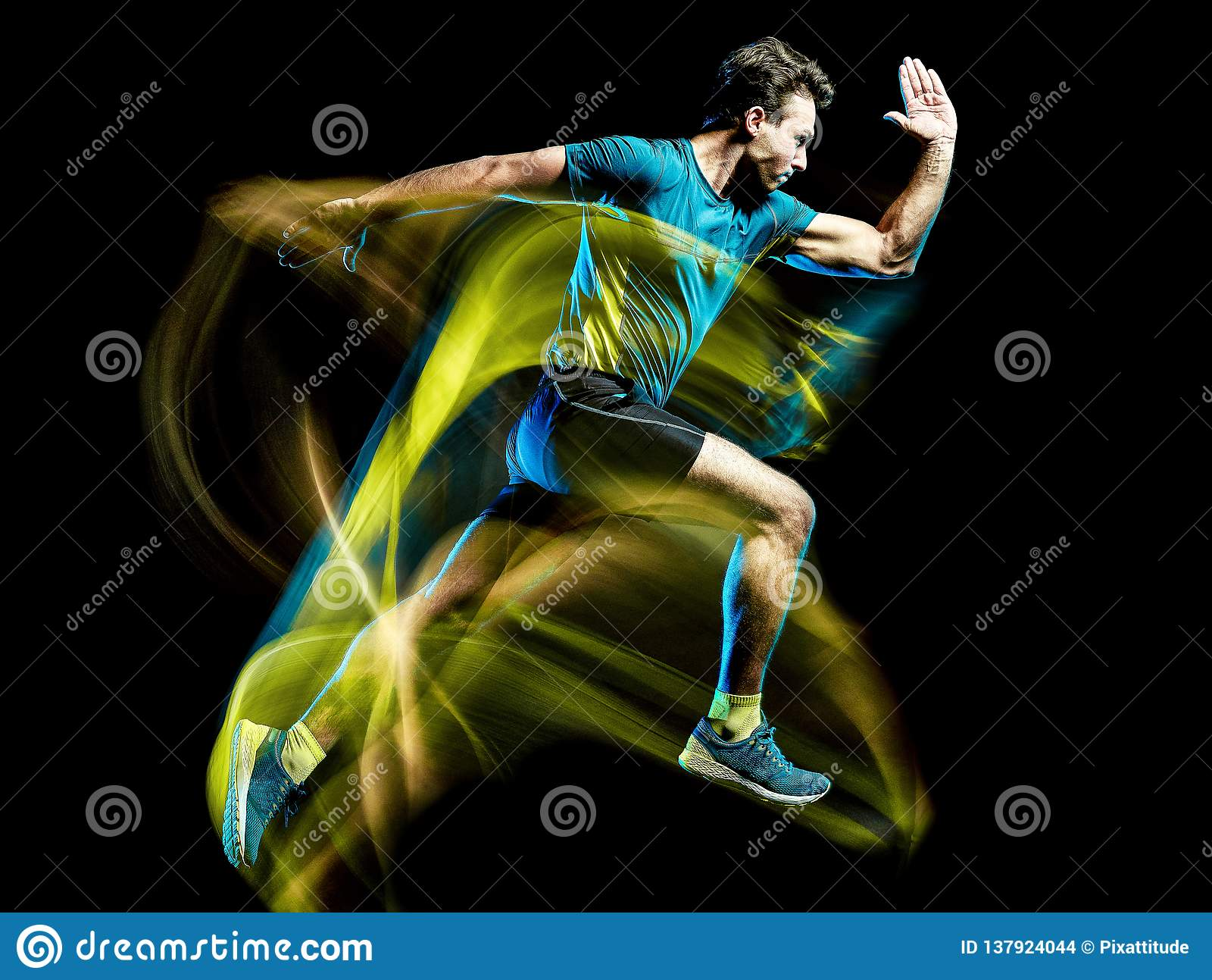 绘黑背景的赛跑者连续慢跑者跑步的人被隔绝的光
