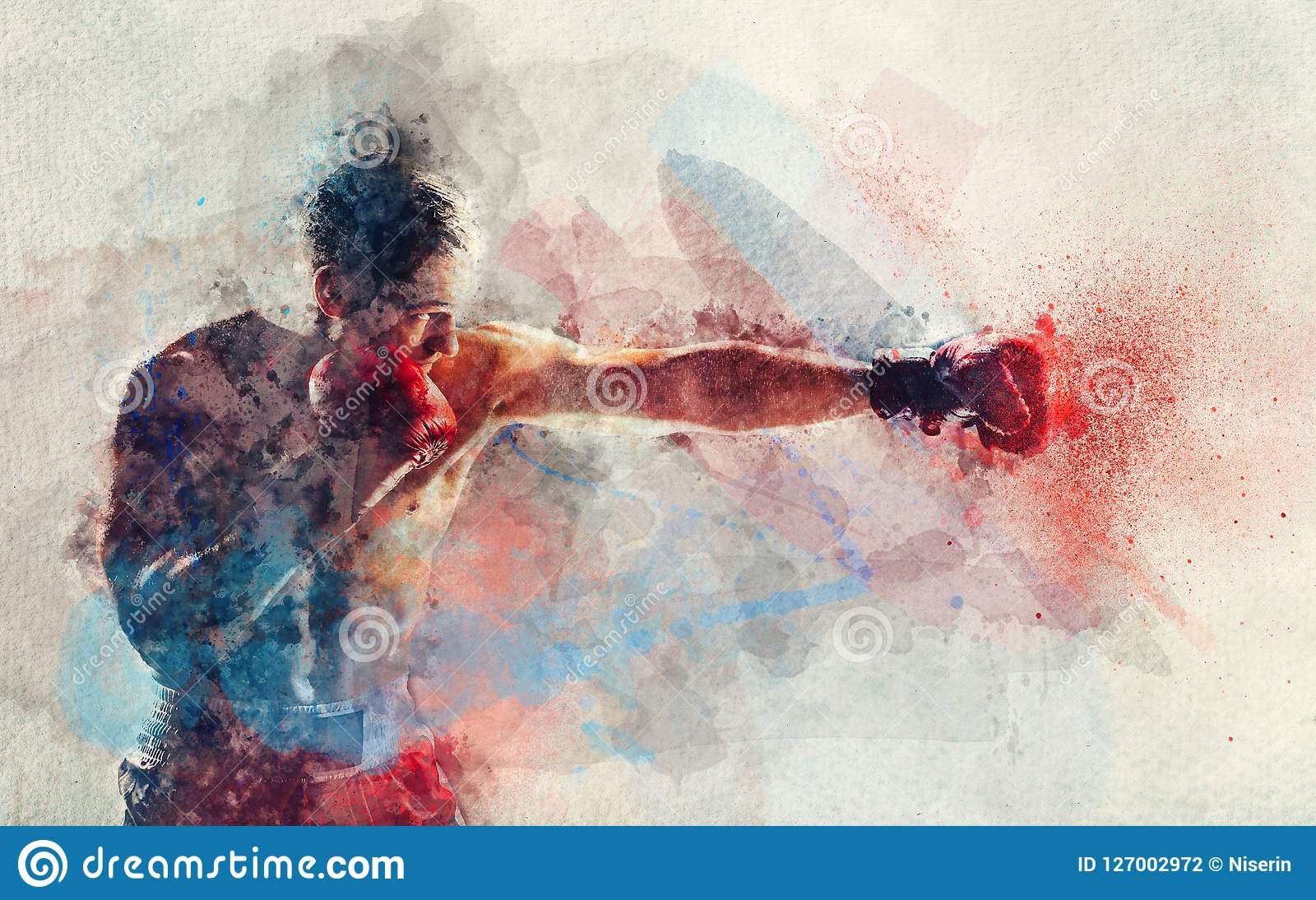 给予打击的拳击手水彩绘画