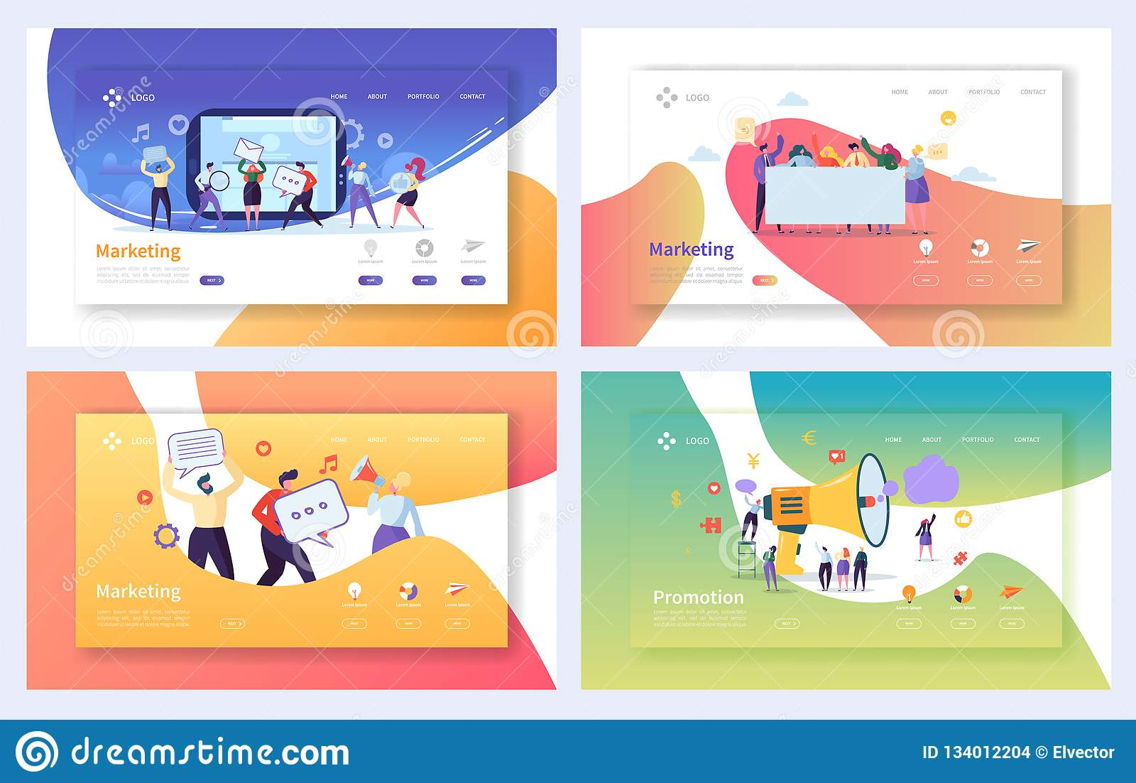 给的数字销售的着陆页集合做广告 企业字符社会通信概念 网上媒介战略
