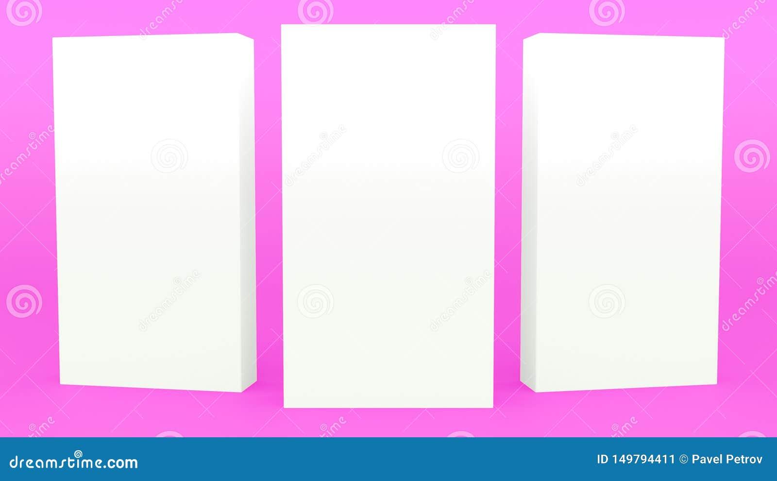 给立场回报现代minimalistic嘲笑的横幅紫色最小的3d做广告,空白的模板,空的陈列室3d回报