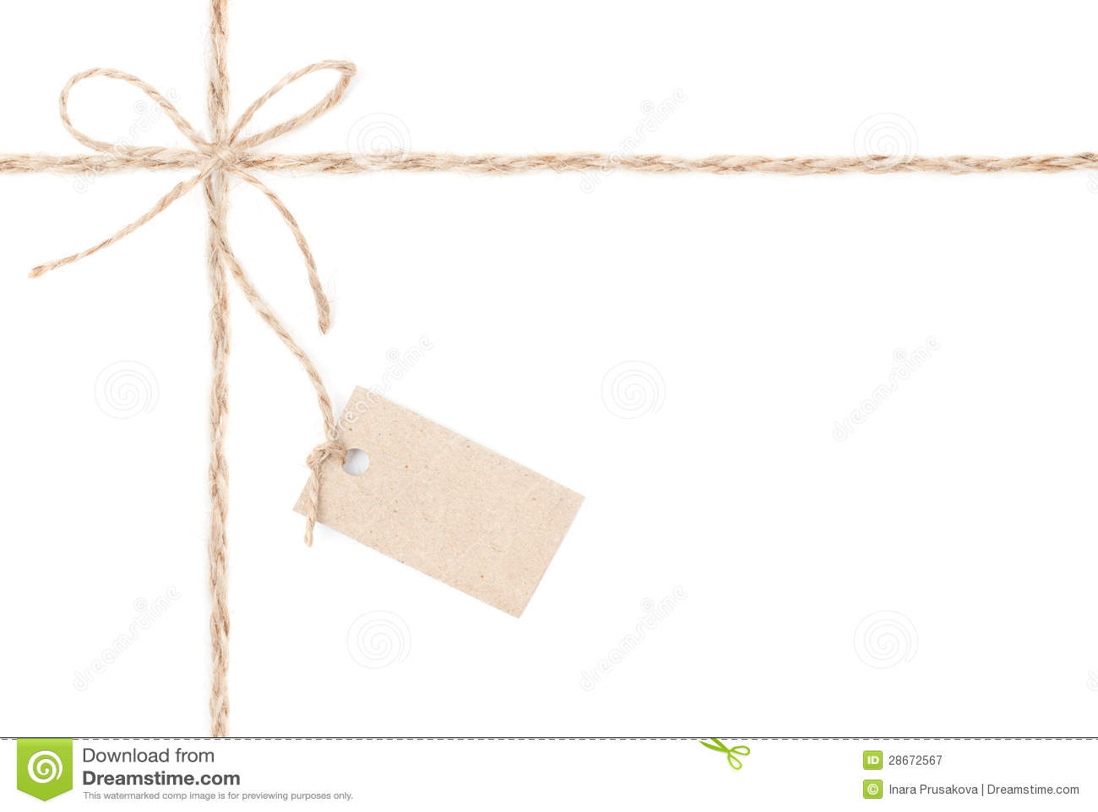 绳索弓标签。 包裹为存在和定价的黄麻。 关闭。