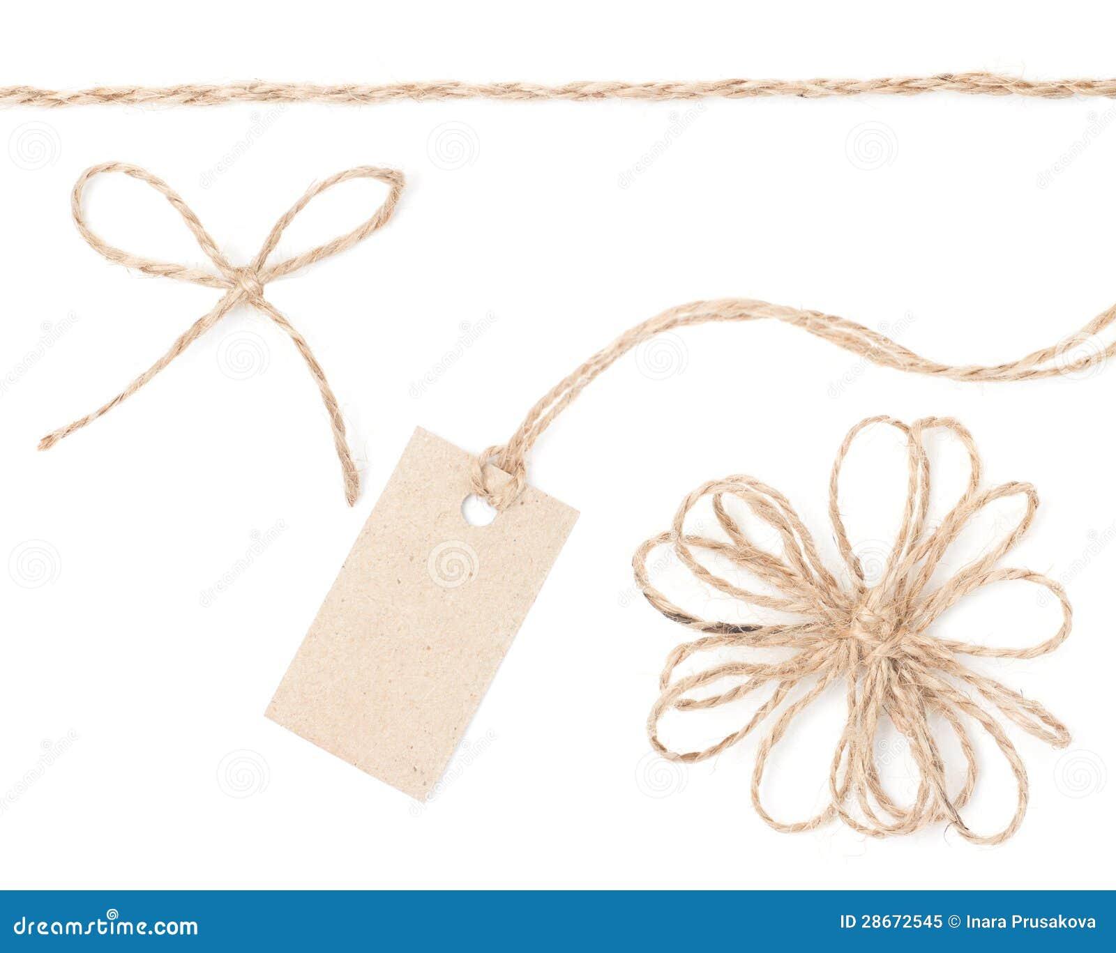 绳索弓标签。 包裹存在和定价的黄麻收集。
