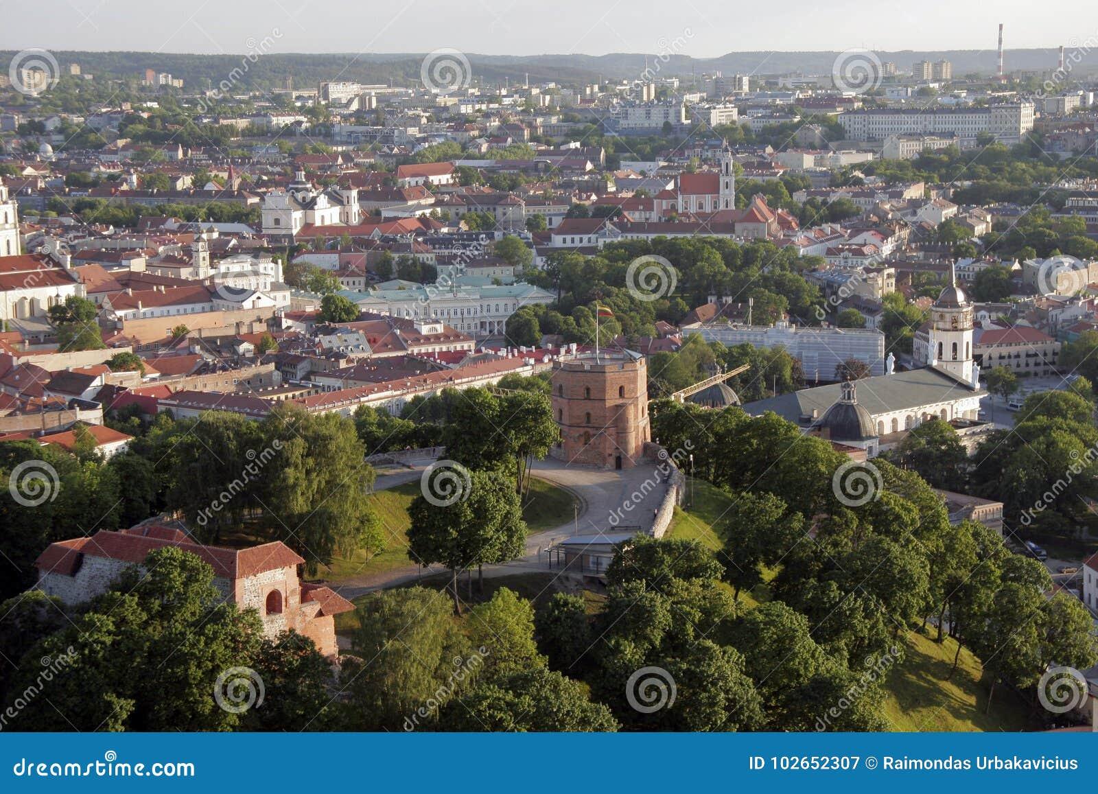 维尔纽斯,立陶宛:鞋帮或Gediminas城堡空中顶视图