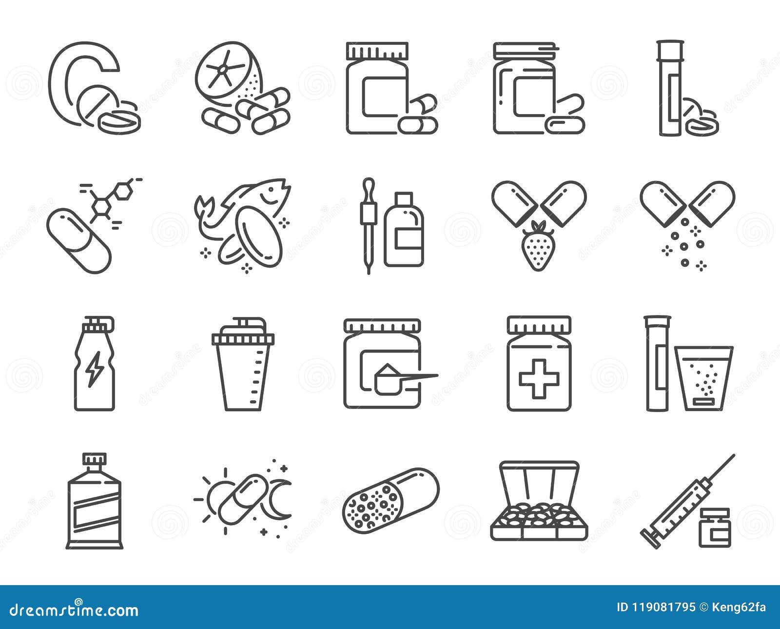 维生素和膳食补充剂象集合 包括象作为维生素C,鱼油,乳清蛋白,片剂,药片,疗程,军医