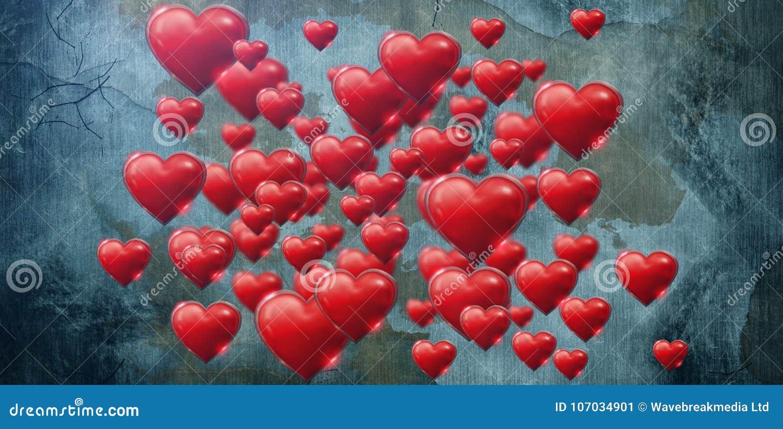 综合图象的几桃红色心脏在白色背景情人节