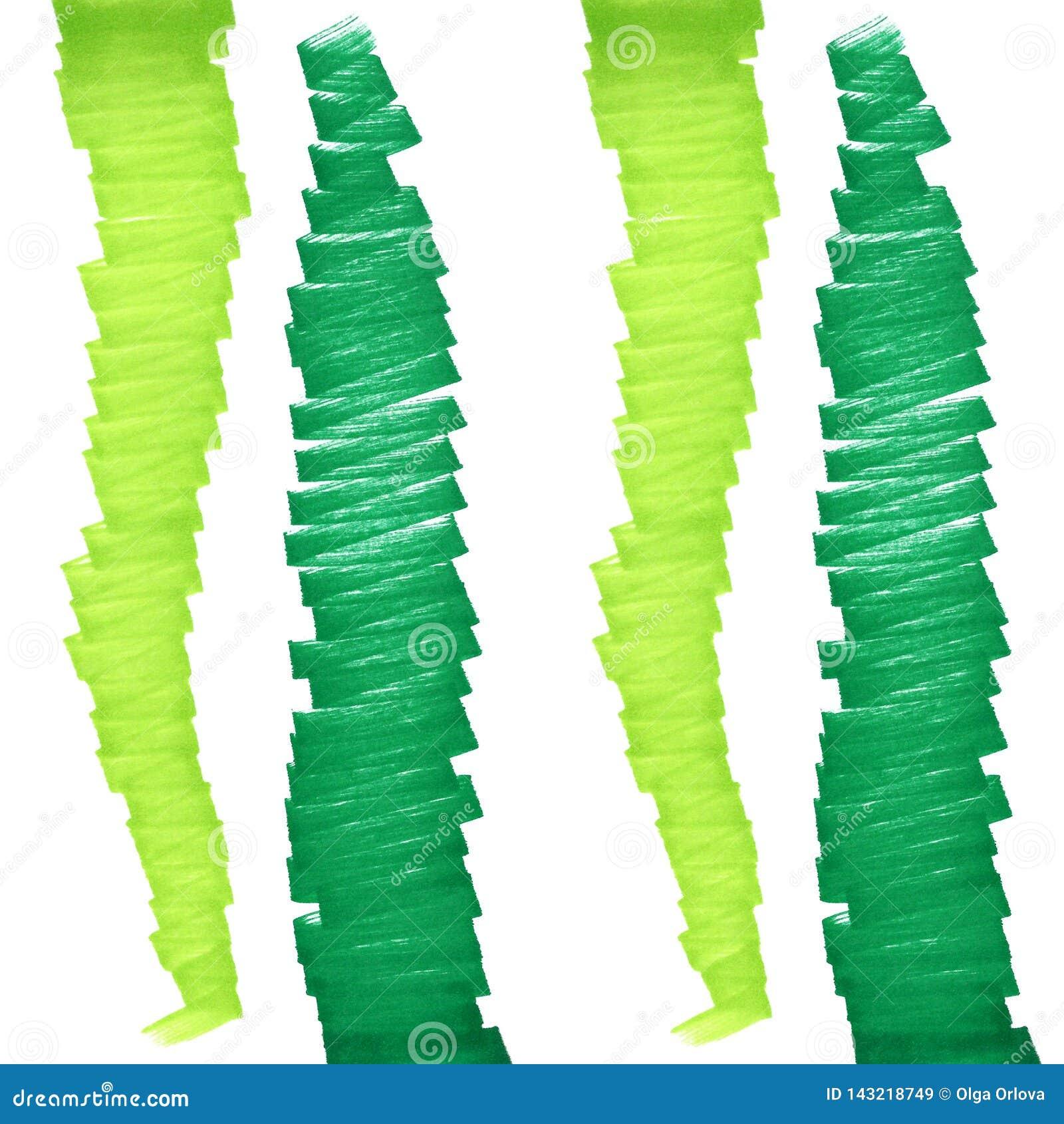 绿线标志 垂直的之字形毡尖笔